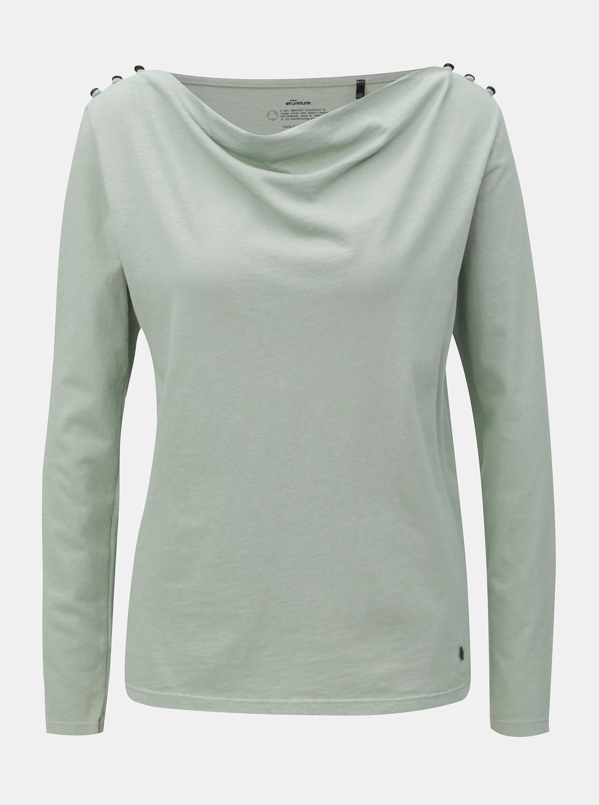 Světle zelené tričko s knoflíky na ramenou SKFK Lantz