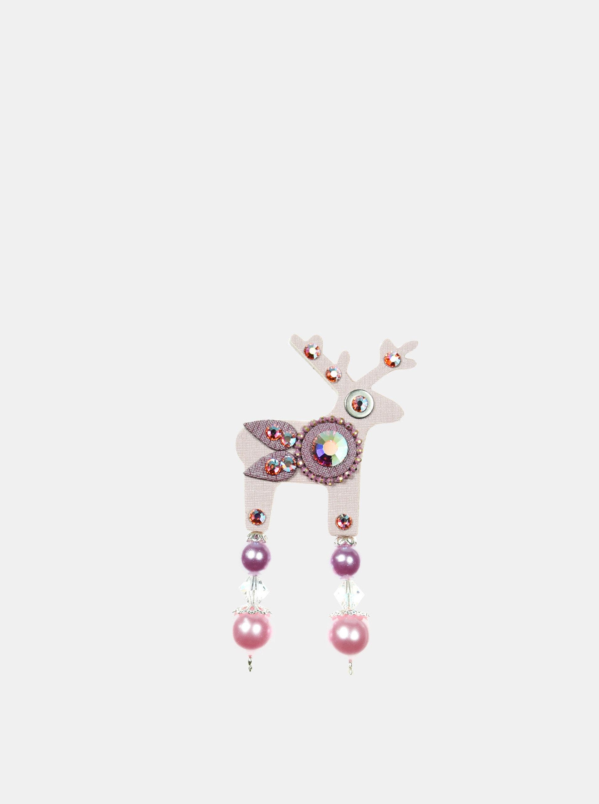 Světle růžová malá brož s broušeným zdobením Preciosa Components Deers