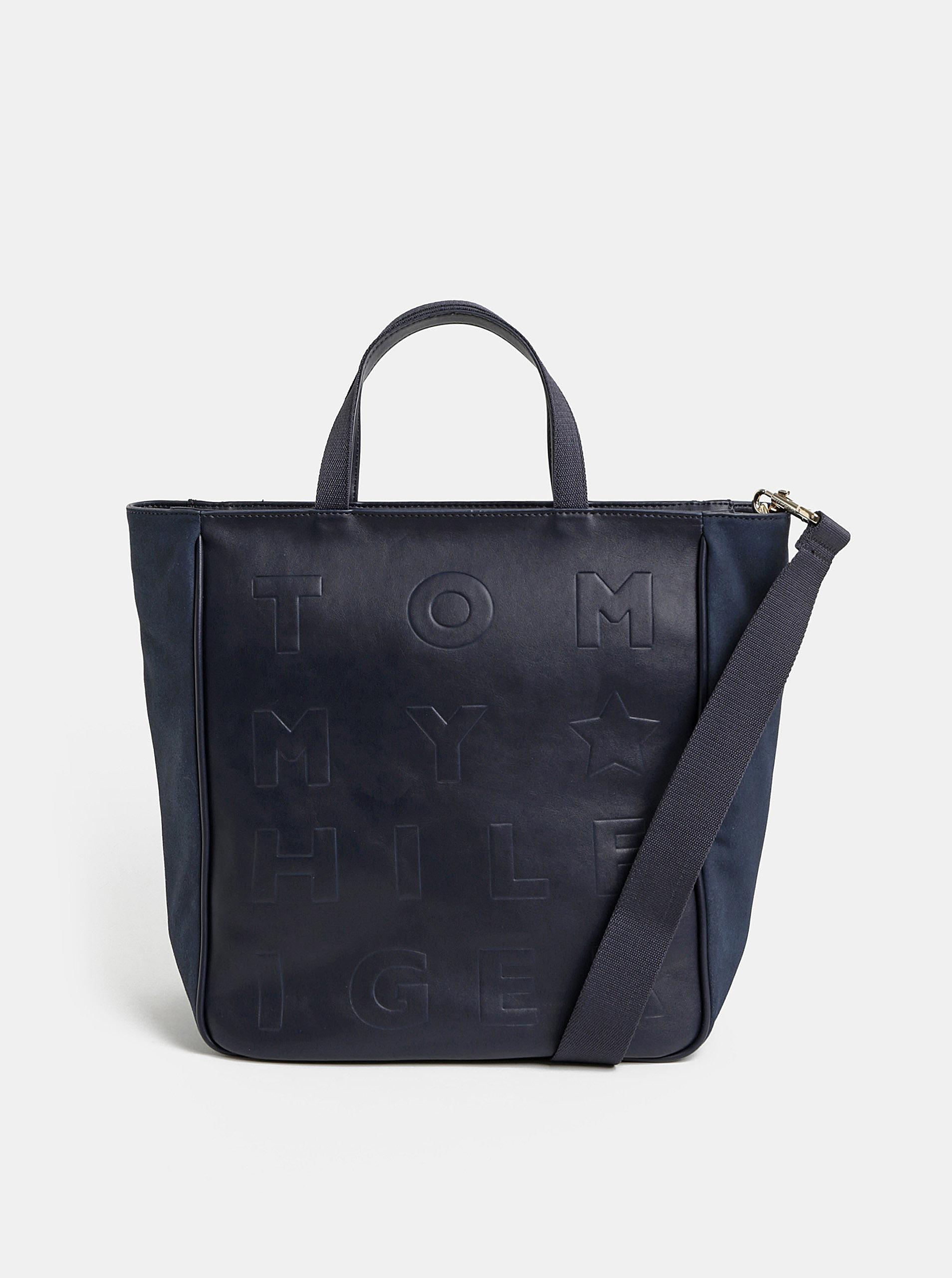 Tmavě modrá vzorovaná velká kabelka Tommy Hilfiger