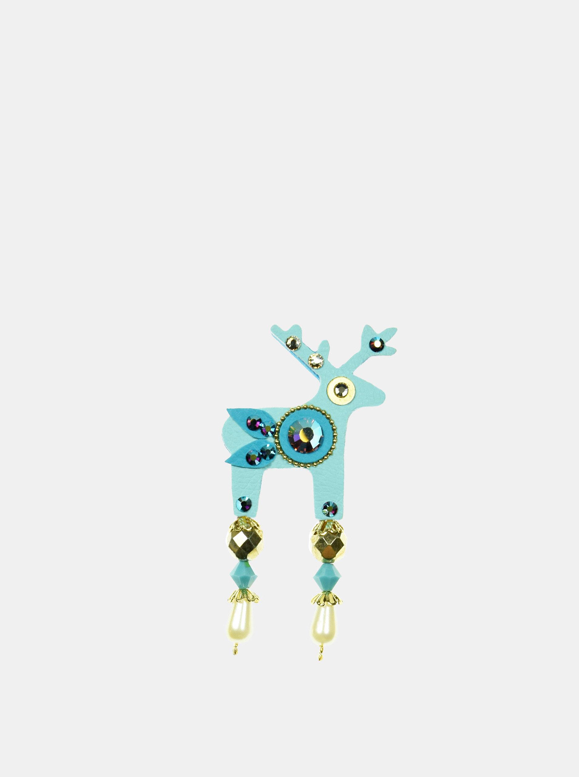 Tyrkysová malá brož s broušeným zdobením Preciosa Components Deers