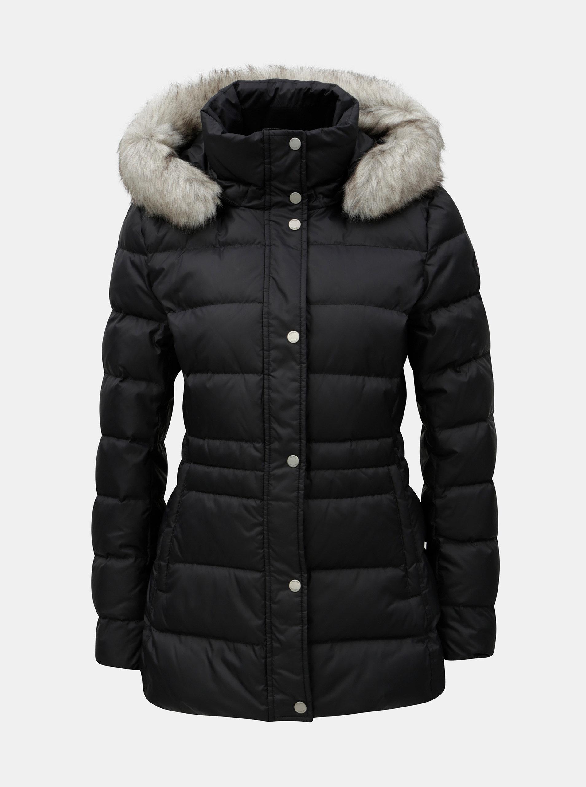 Čierna dámska páperová prešívaná zimná bunda Tommy Hilfiger ... 377cc13b157