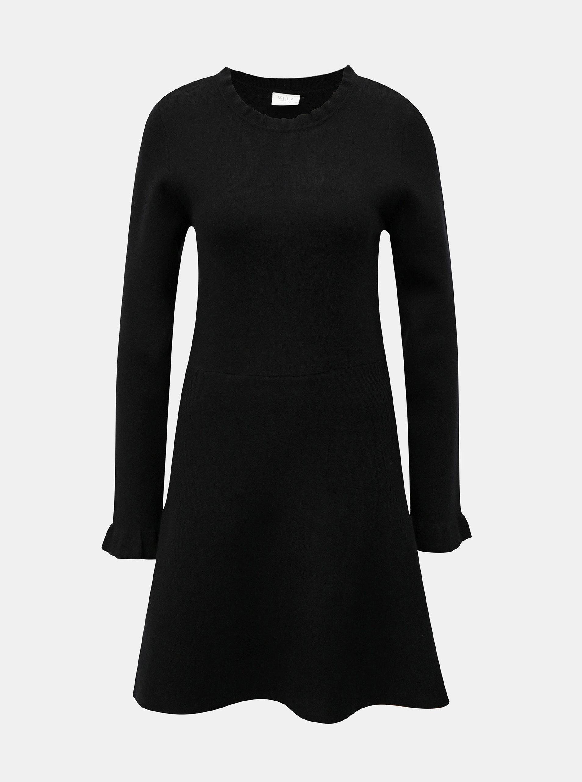 Černé svetrové šaty s dlouhým rukávem VILA Livnia