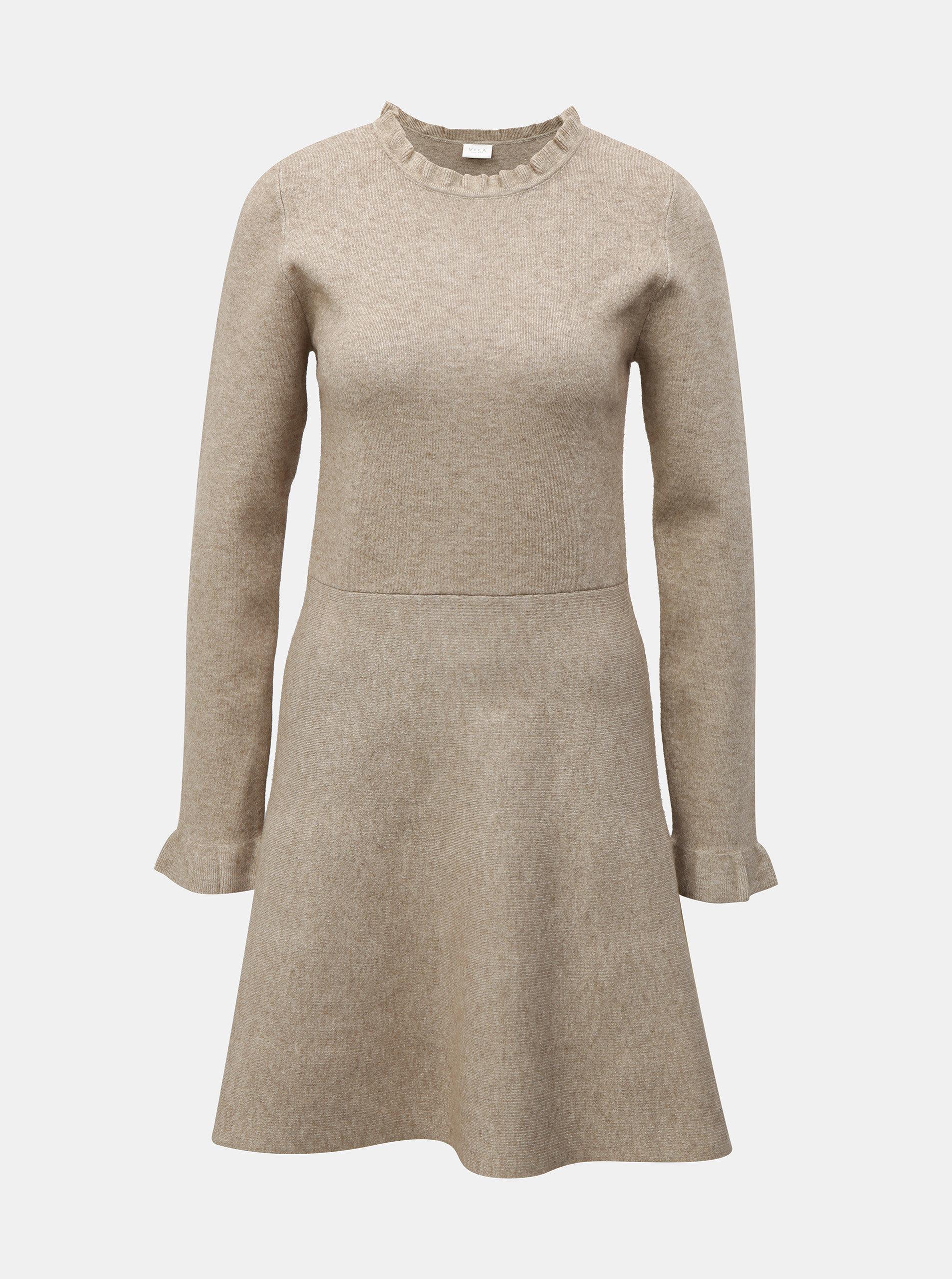 Béžové svetrové šaty s dlouhým rukávem VILA Livnia ... 118390fa09