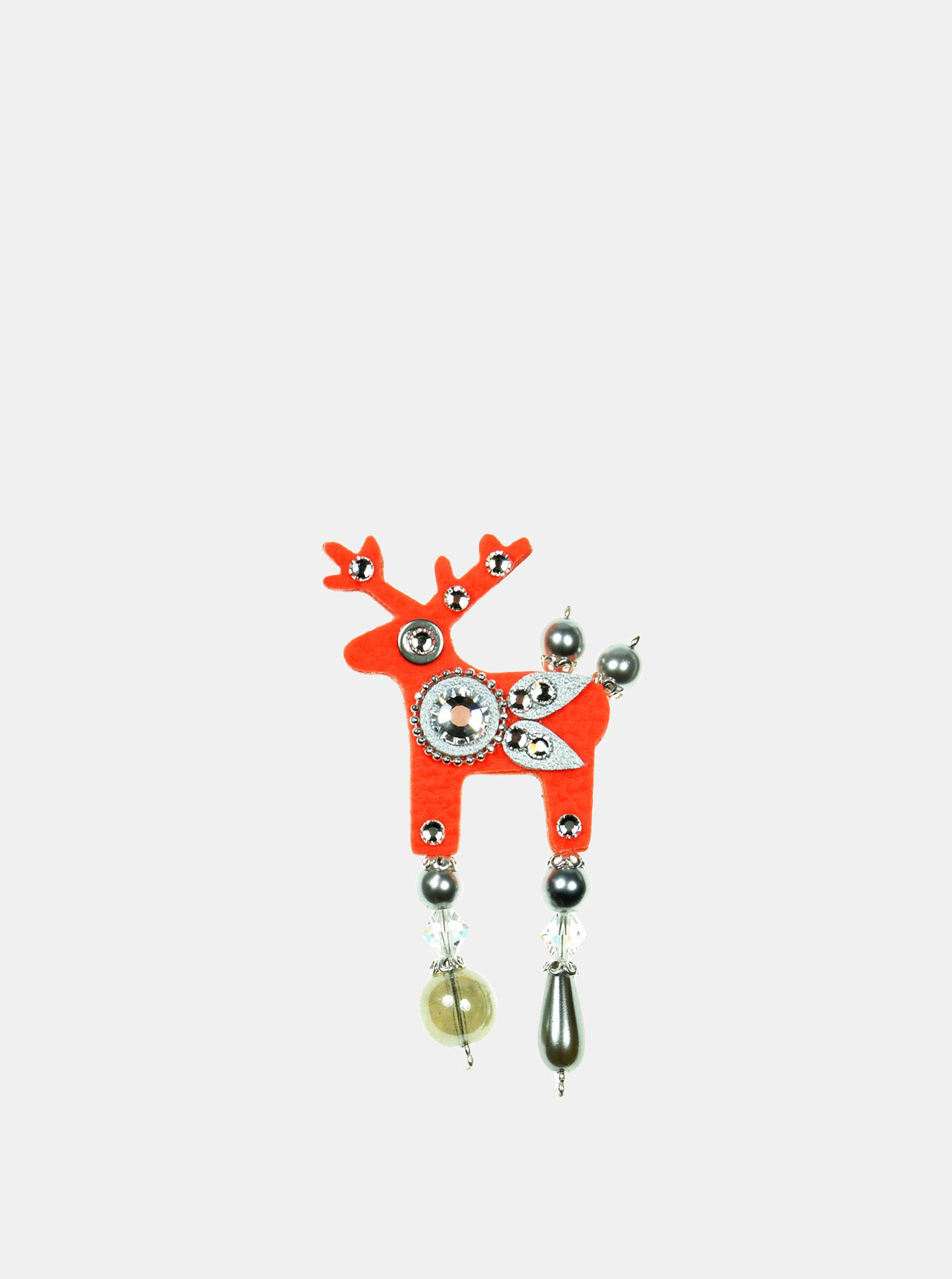 Neonově oranžová malá brož s broušeným zdobením Preciosa Components Deers