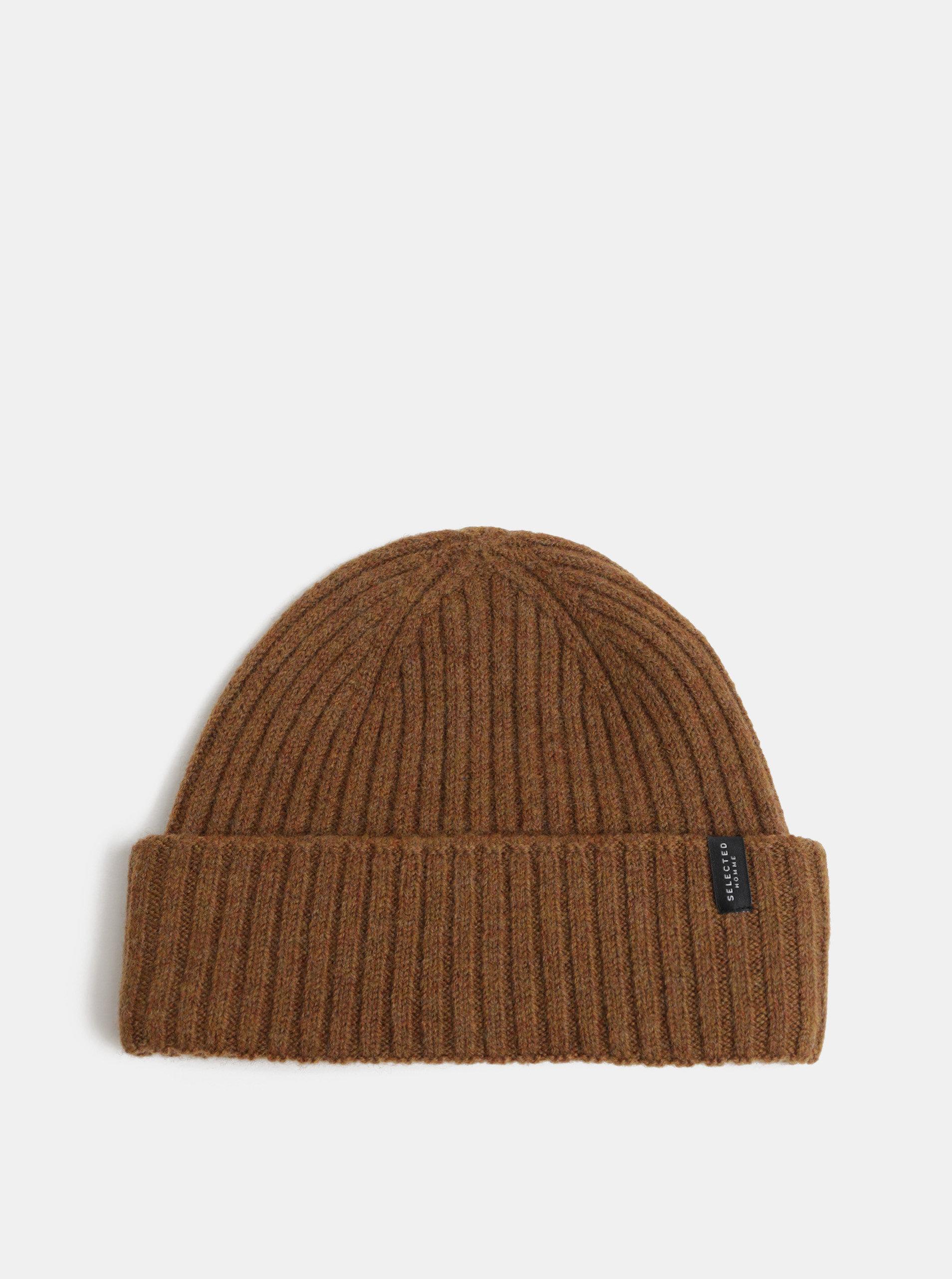 Hnědá pletená vlněná čepice Selected Homme