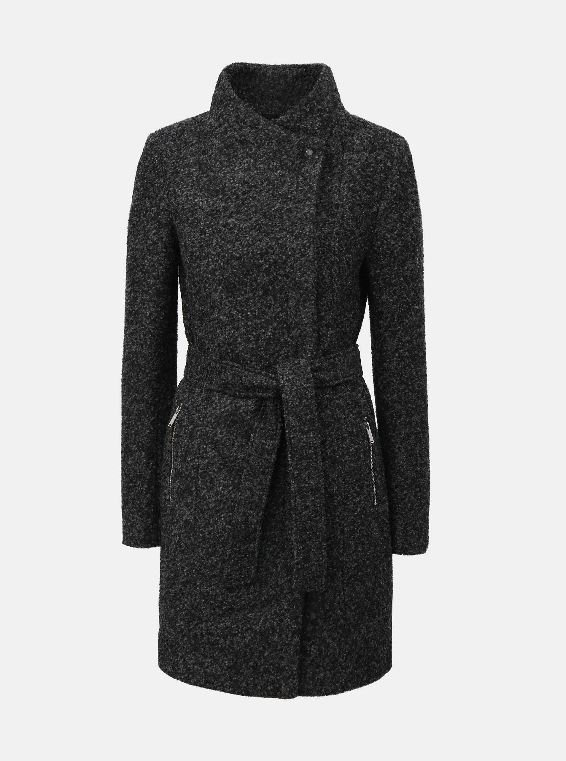 Černo-šedý žíhaný kabát s páskem a příměsí vlny VERO MODA Boos