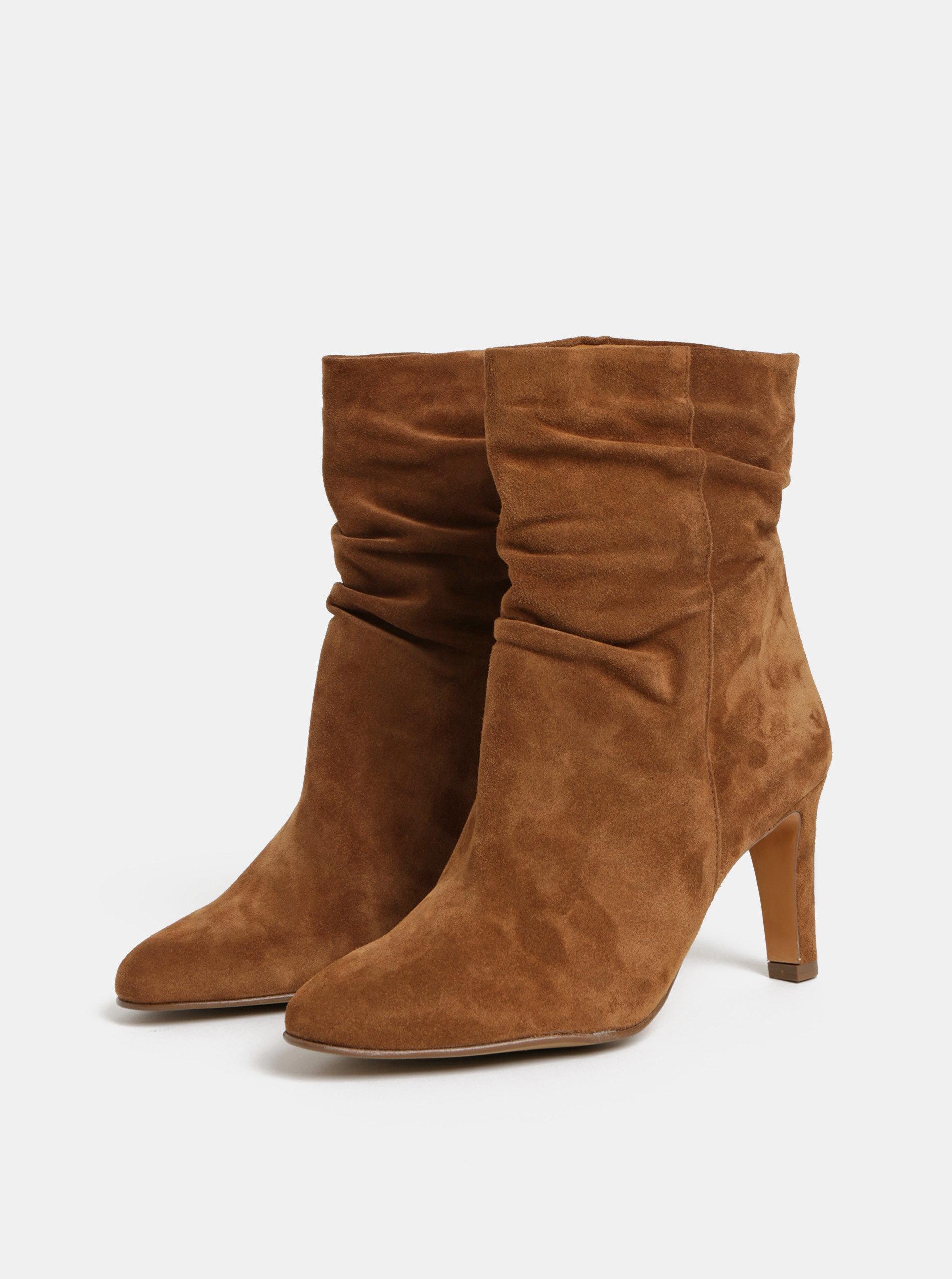 0aef08f239ec Hnedé semišové členkové topánky na podpätku Högl ...