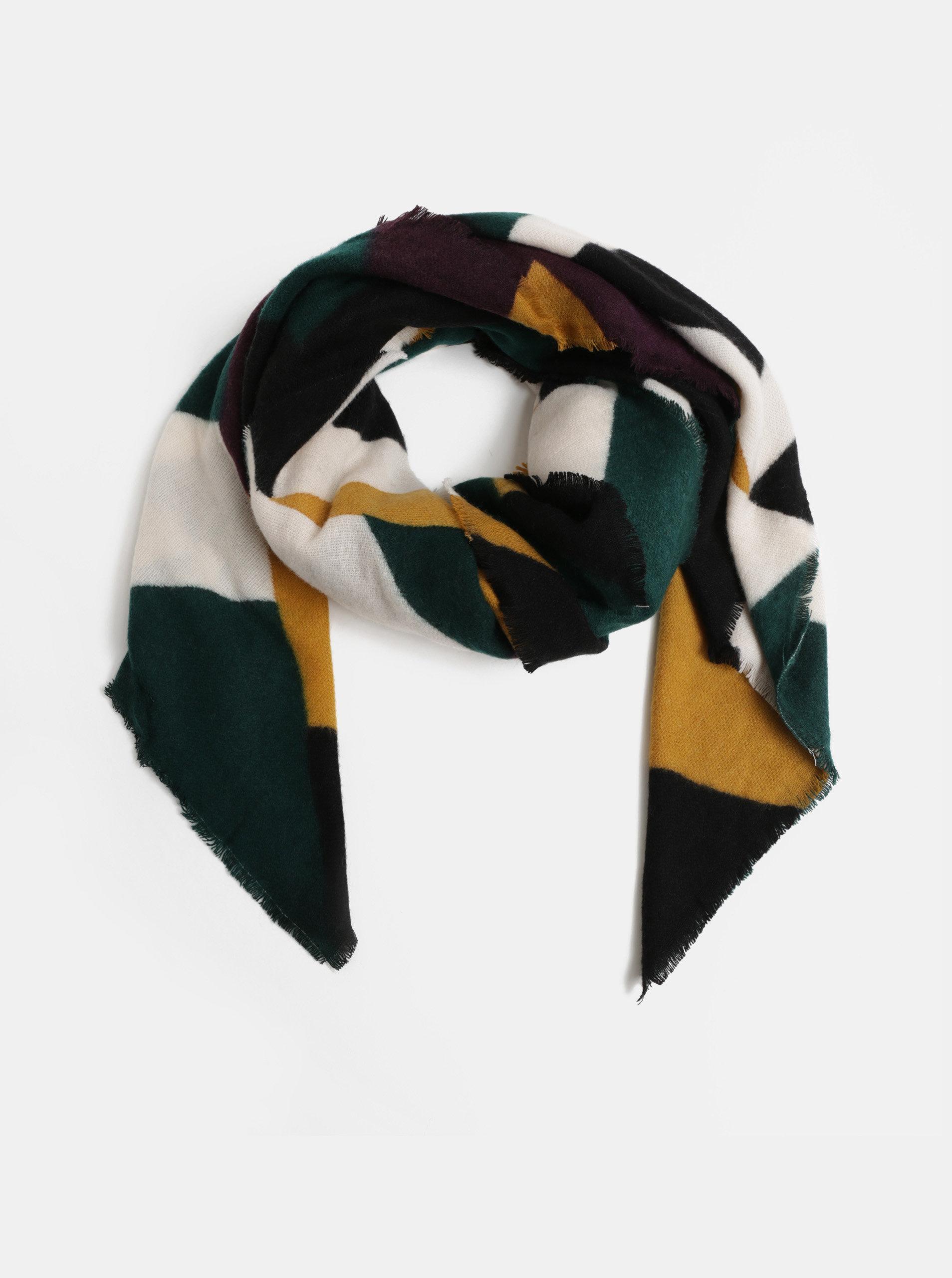 Fialovo-zelený vzorovaný šátek Pieces Lola