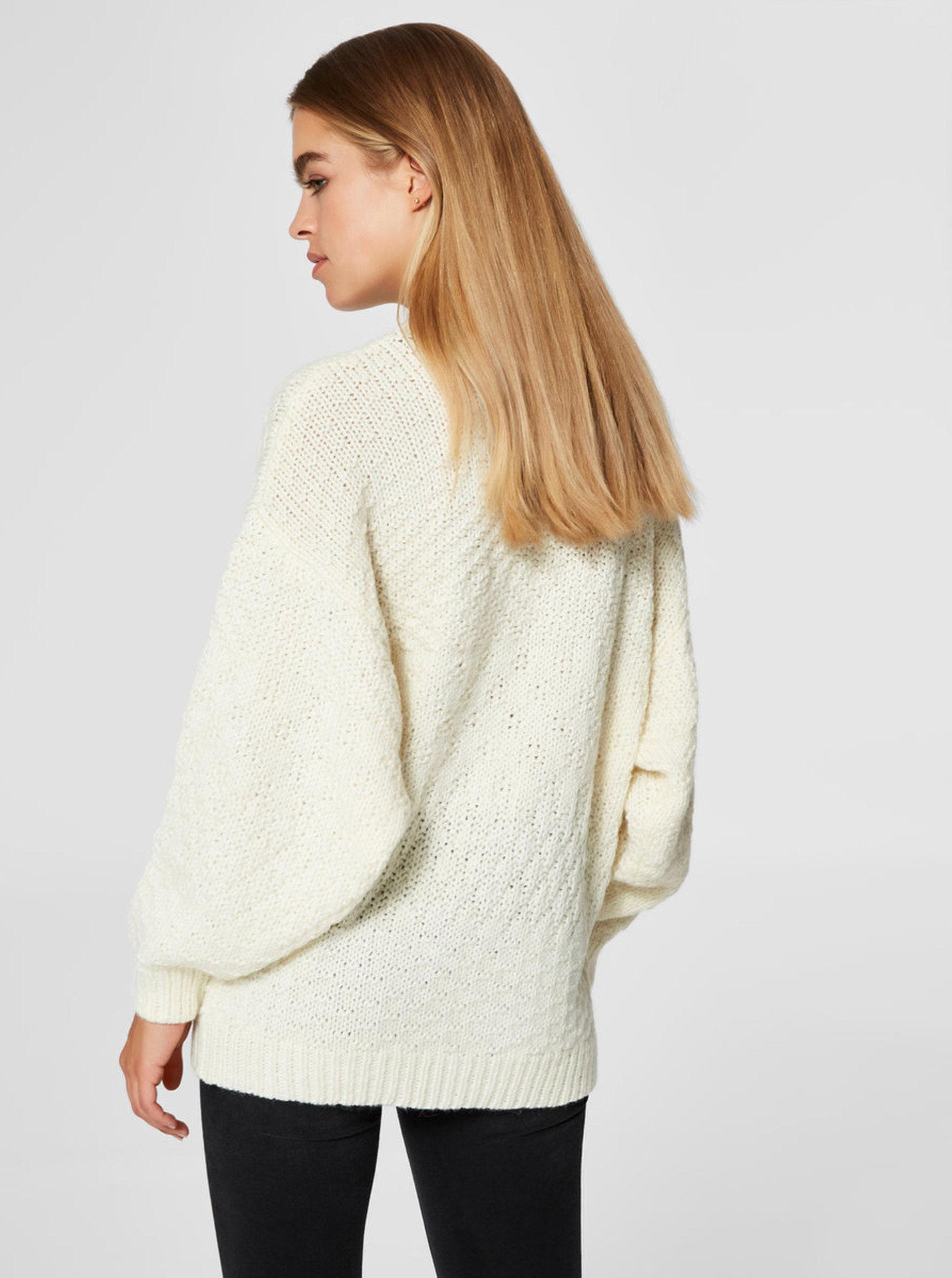 caa86c2587d8 Krémový sveter s prímesou vlny Selected Femme Hilla ...