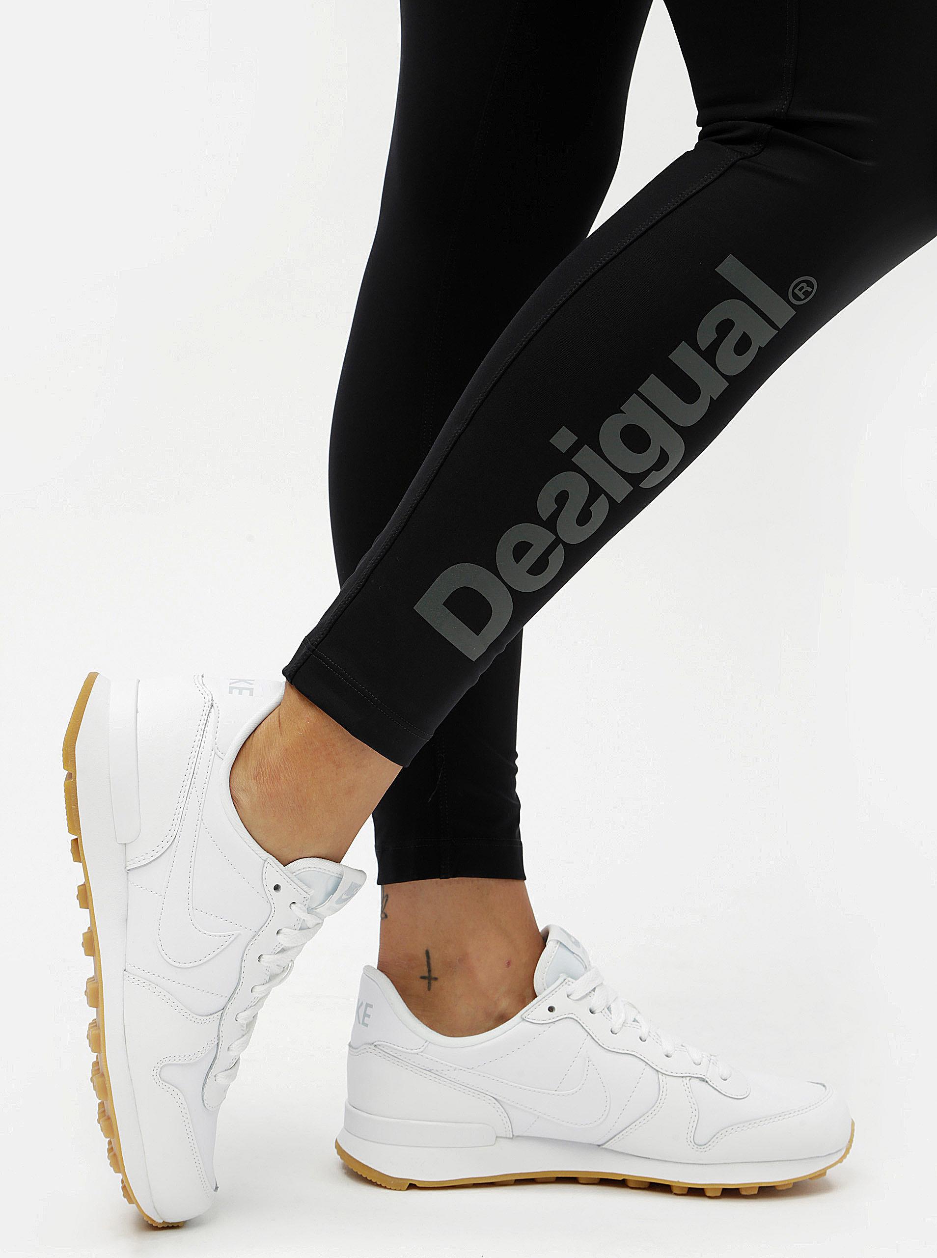 Čierne športové legíny s potlačou Desigual ... ebb02c571dc