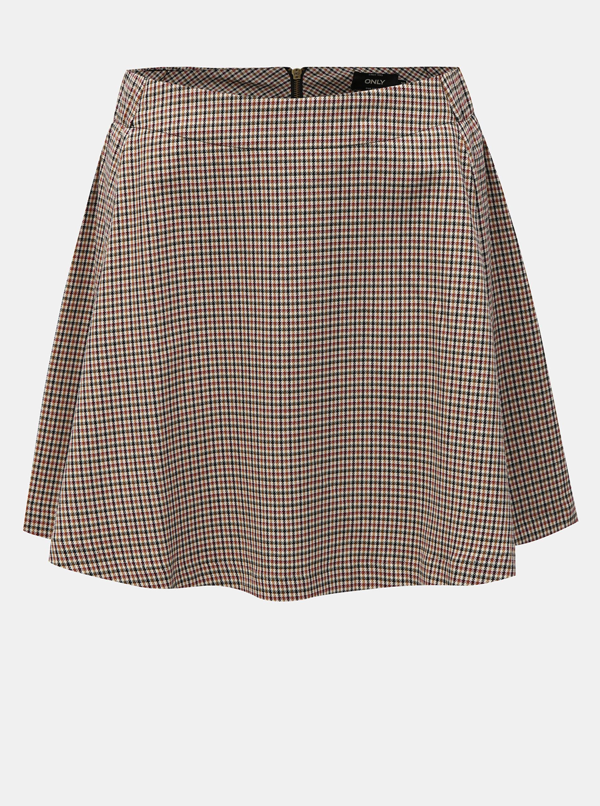 Béžová kostkovaná sukně ONLY Rosaria