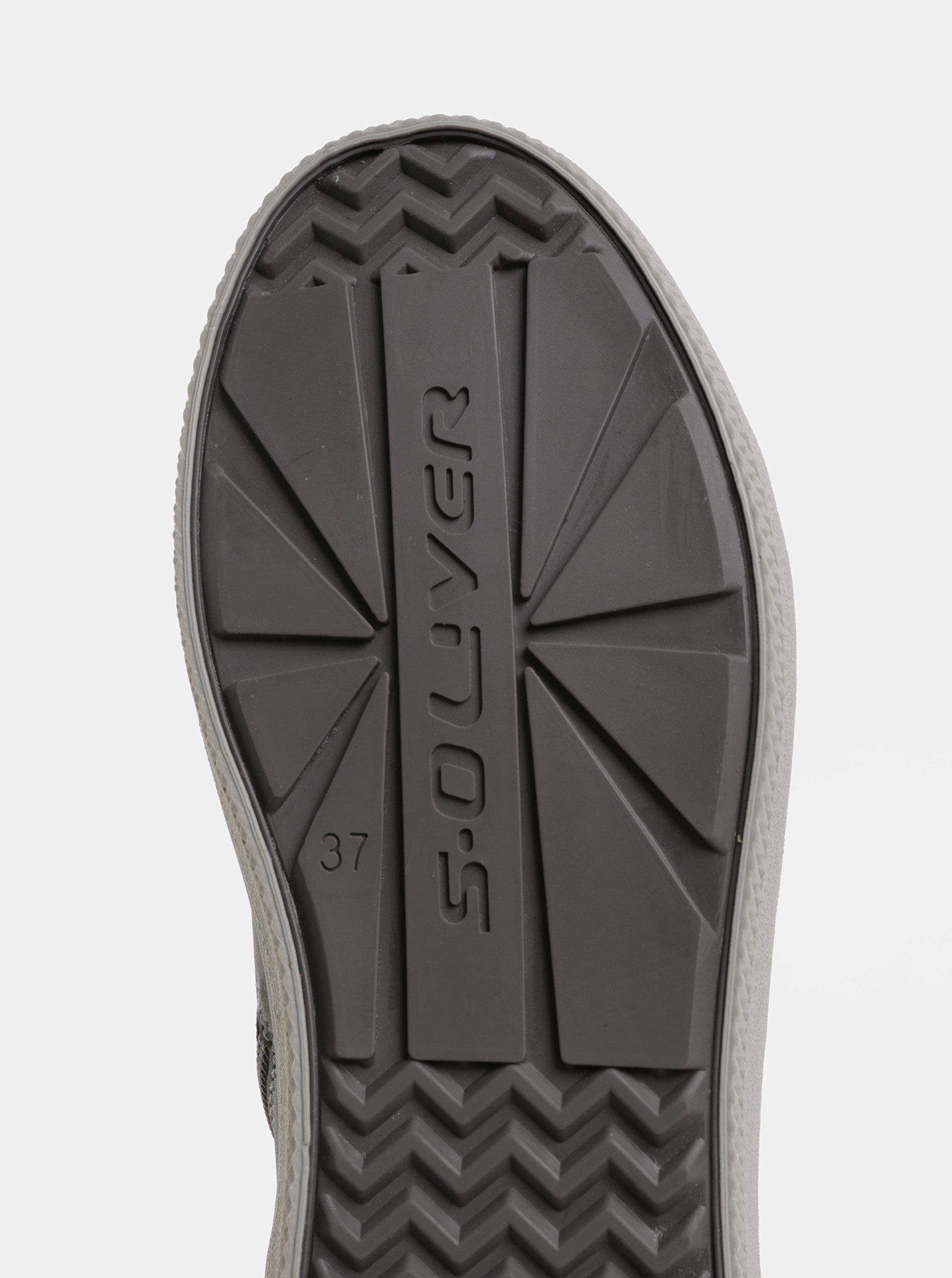 Sivé dámske členkové zimné topánky s umelou kožušinkou s.Oliver ... 68a0ad161c9