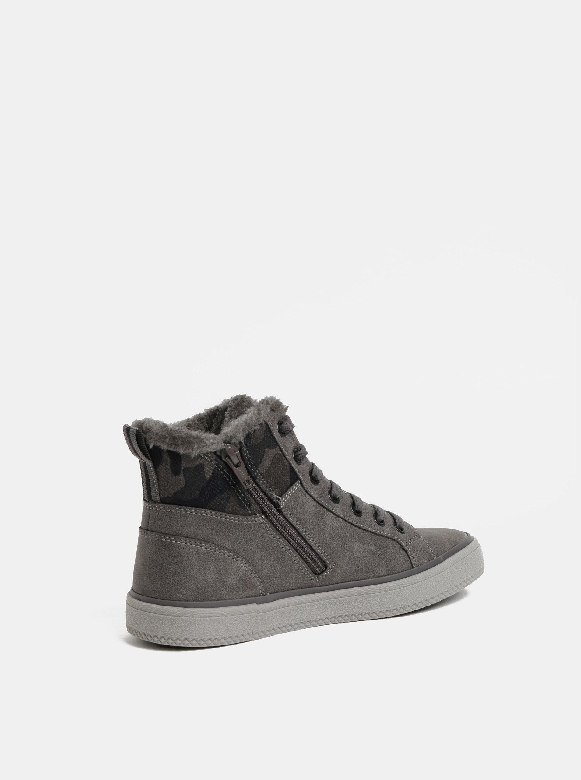 7b92209eed Sivé dámske členkové zimné topánky s umelou kožušinkou s.Oliver ...