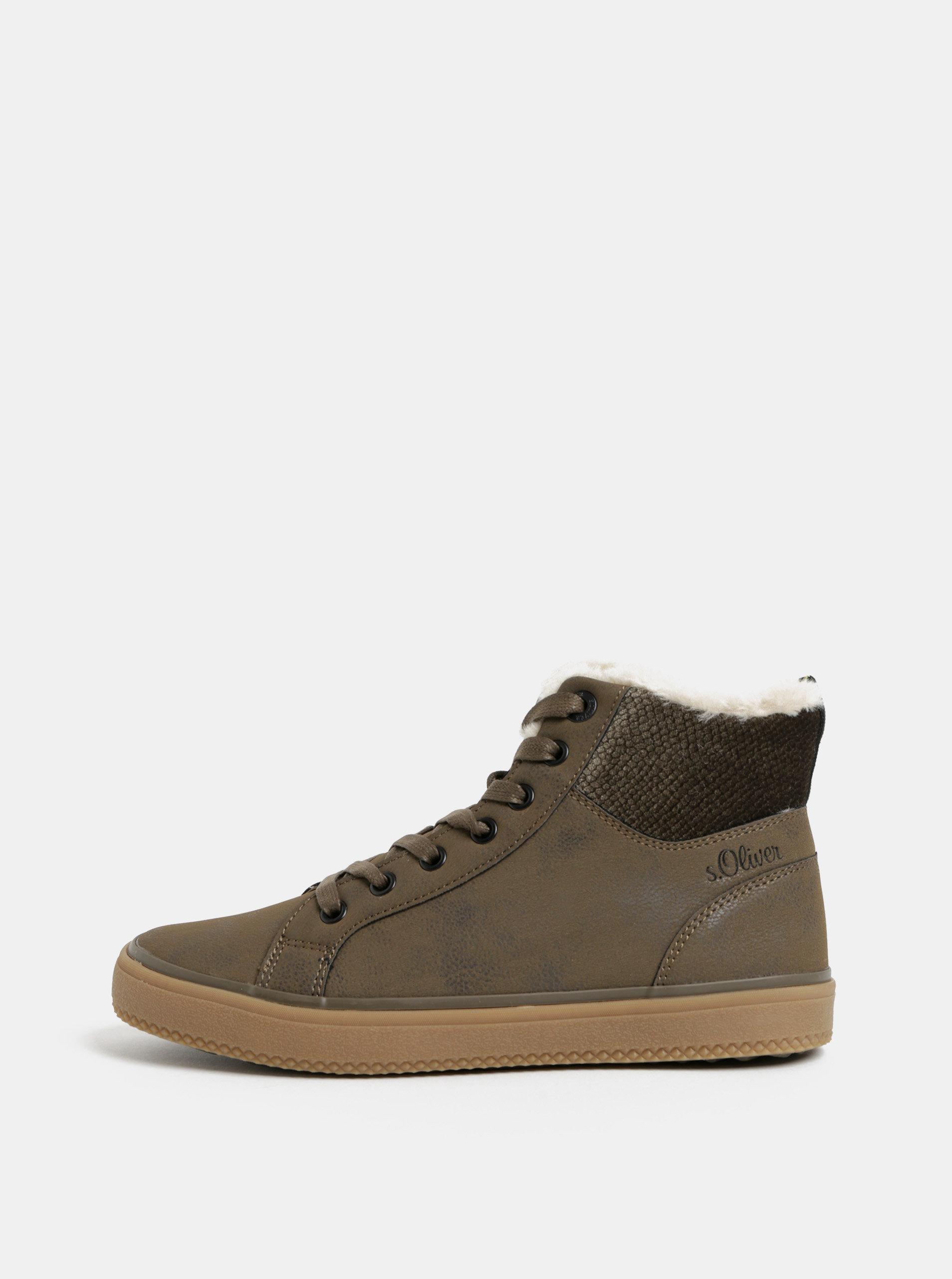 3f08a12e482 Zelené dámské kotníkové zimní boty s umělým kožíškem s.Oliver ...