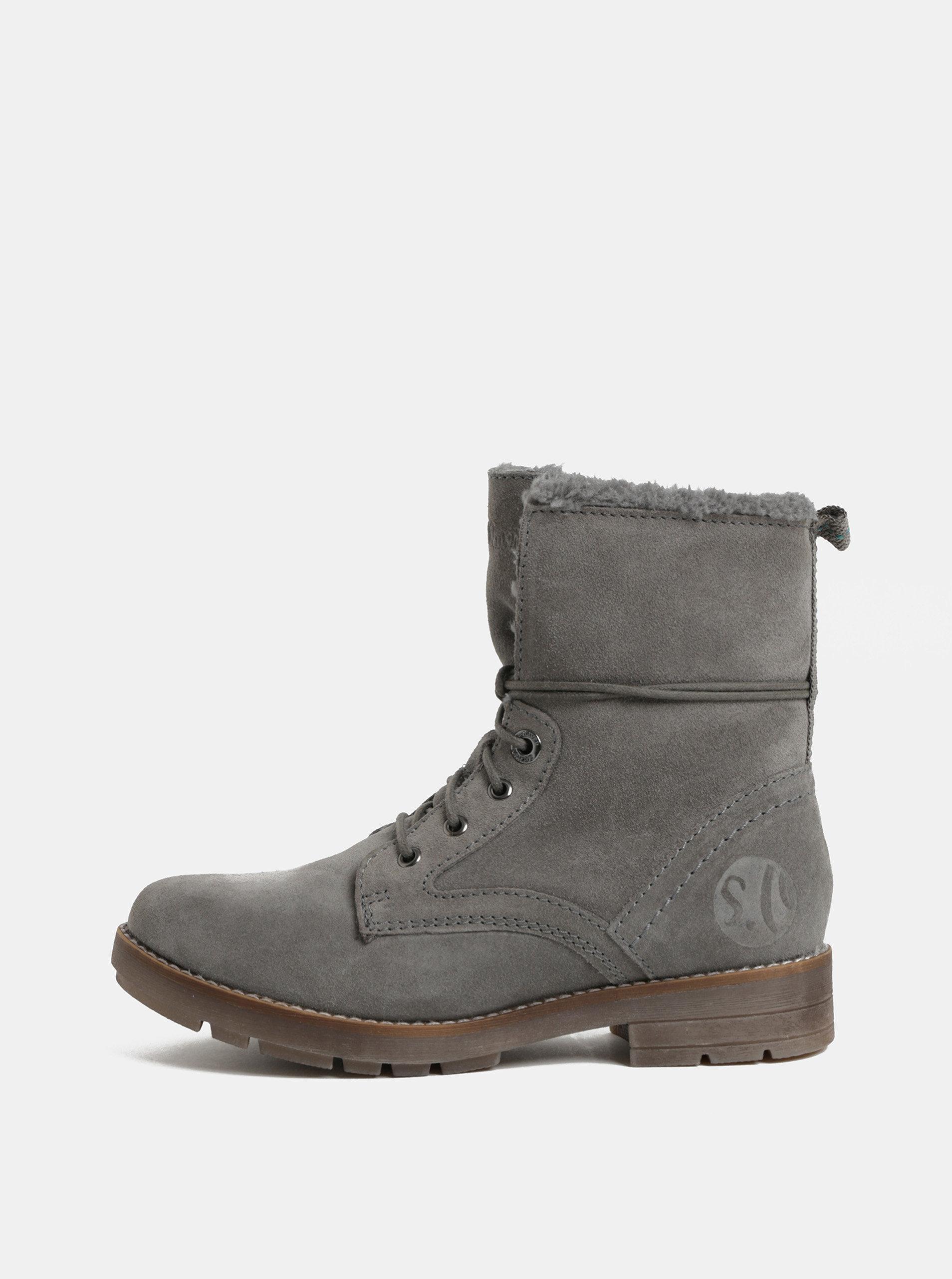 a0762fa4013 Šedé dámské semišové zimní kotníkové boty s.Oliver ...