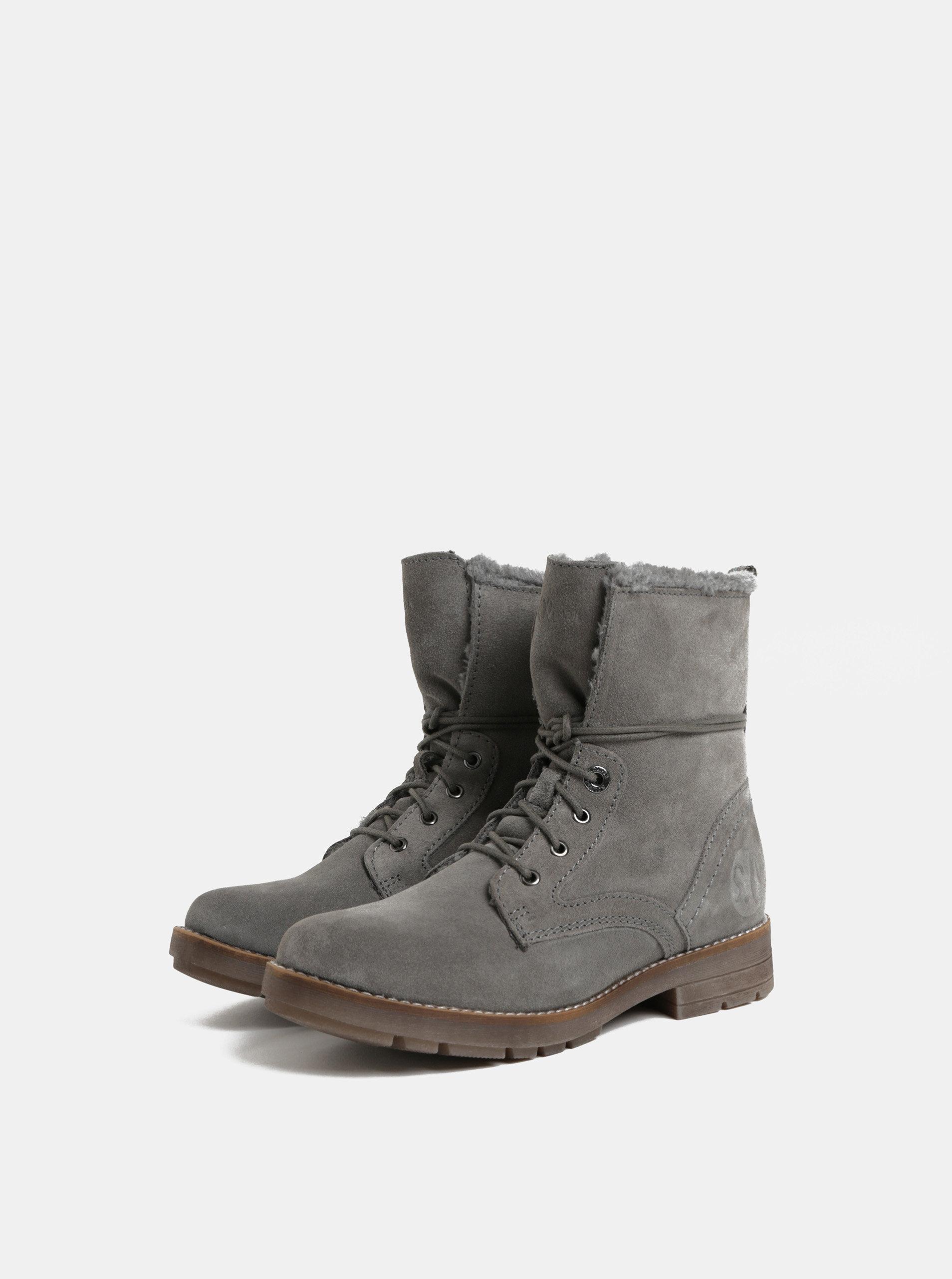 6f20ec6828 Sivé dámske zimné semišové členkové topánky s.Oliver