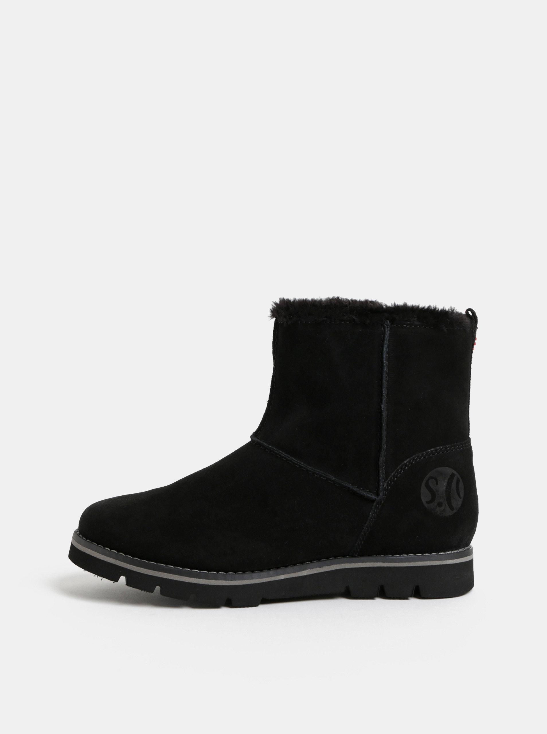 1d55cbe816 Čierne dámske semišové zimné topánky s umelou kožušinkou s.