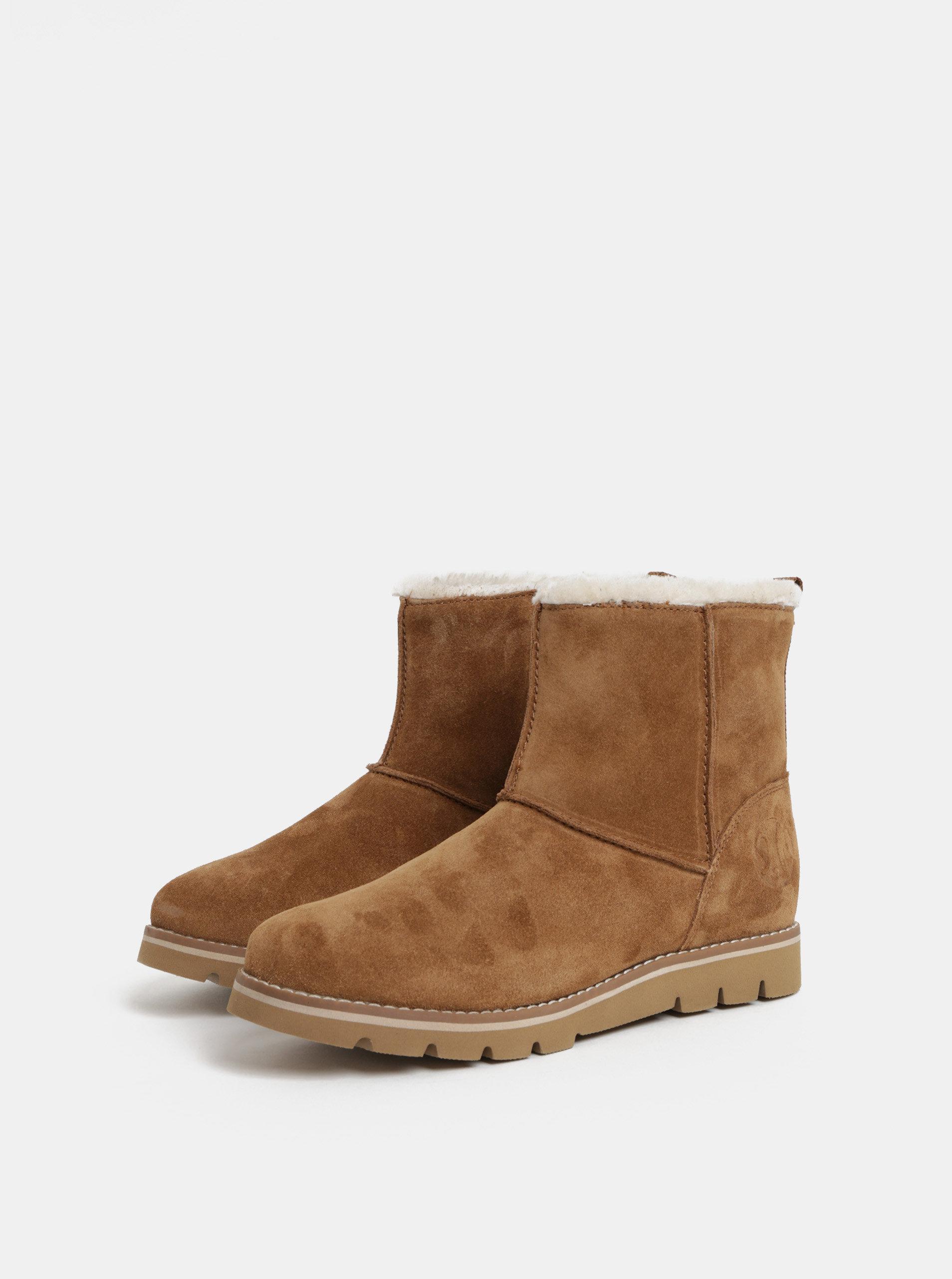517541f1dc98e Hnedé dámske semišové zimné topánky s umelou kožušinkou s.Oliver ...