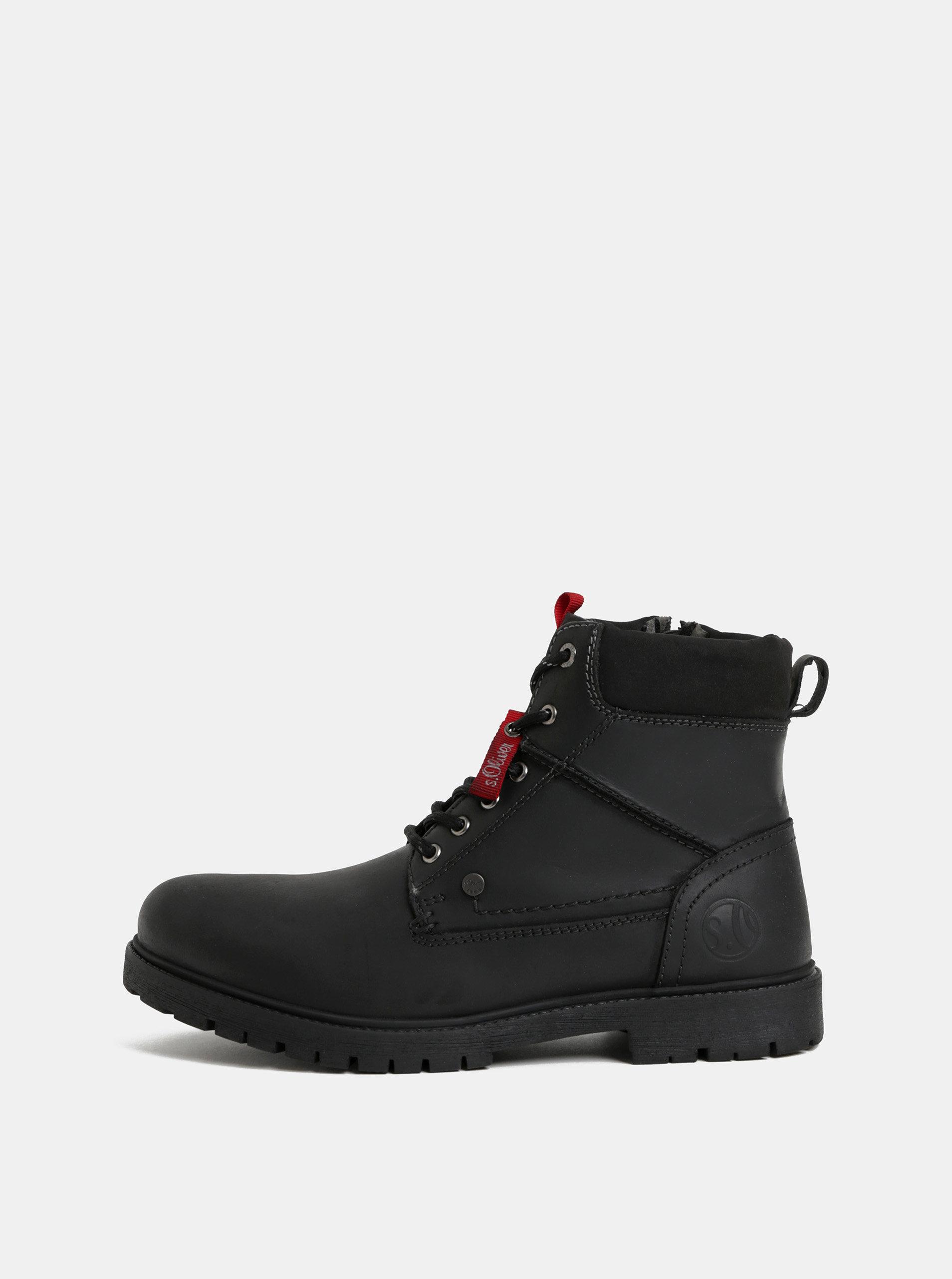Černé pánské kožené kotníkové zimní boty s.Oliver  cd21a88c1b