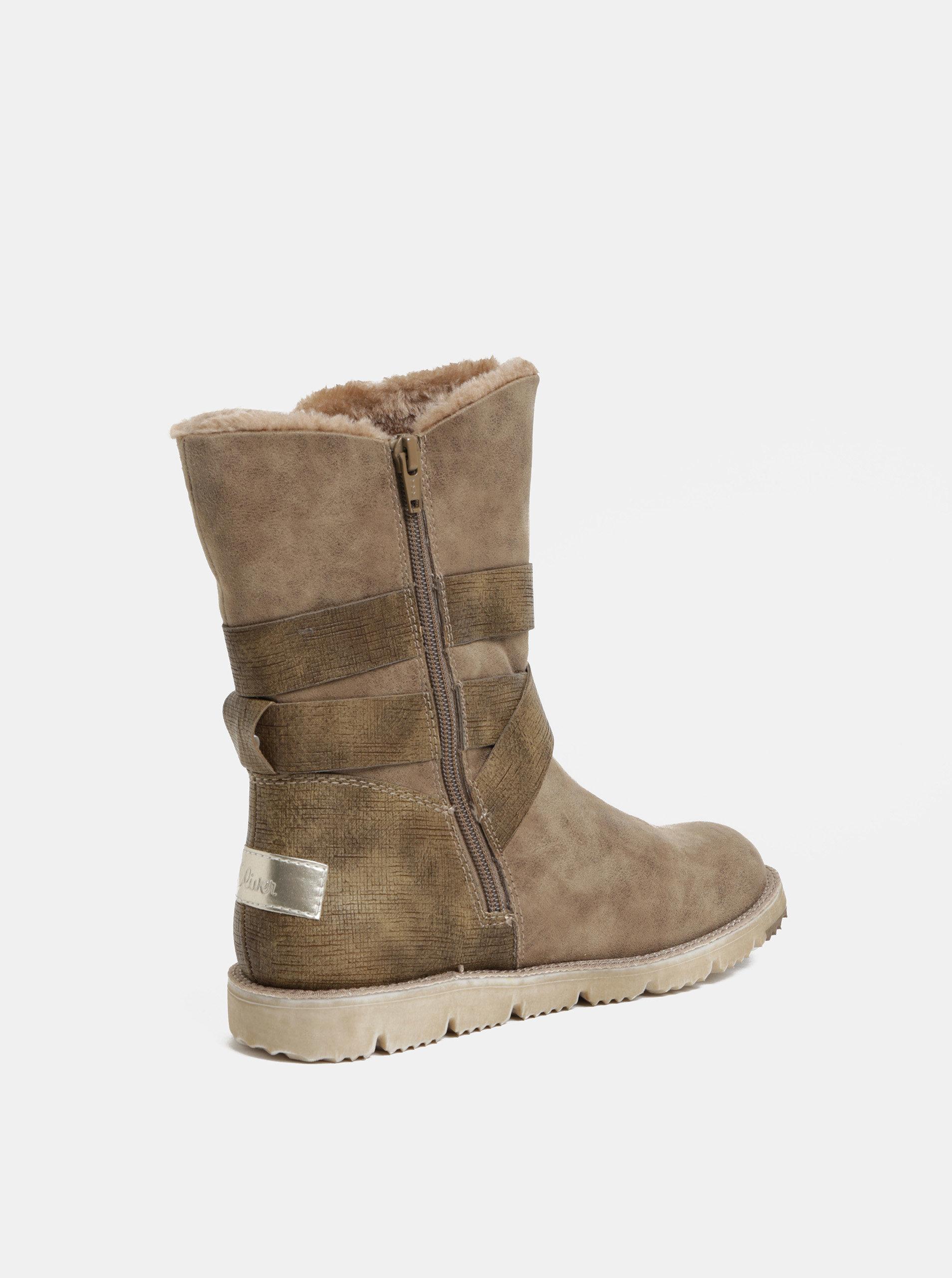 b07f372251 Béžové dámské zimní boty s umělým kožíškem s.Oliver