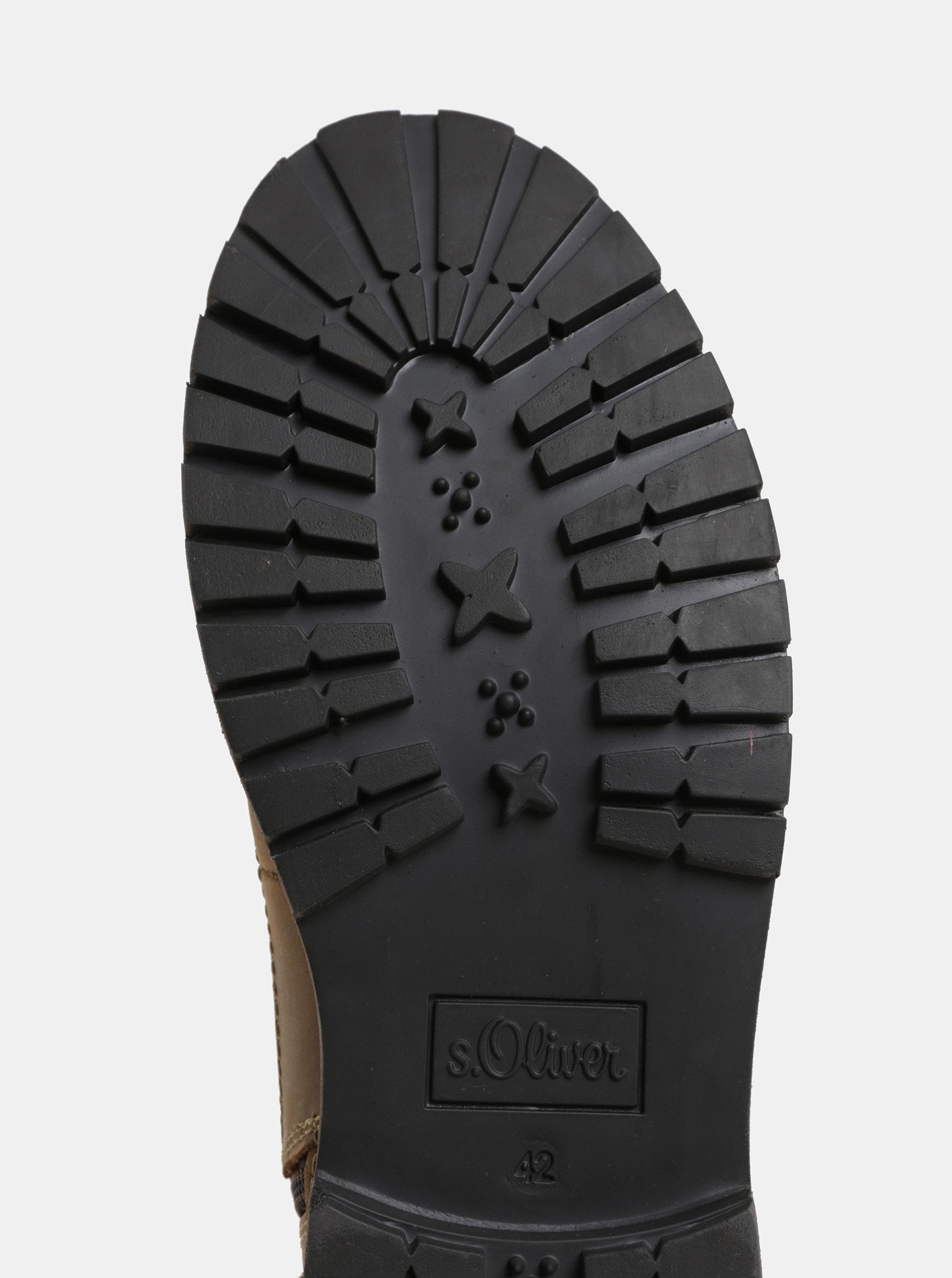 Hnedé pánske kožené členkové zimné topánky s.Oliver  09bc5dcdada