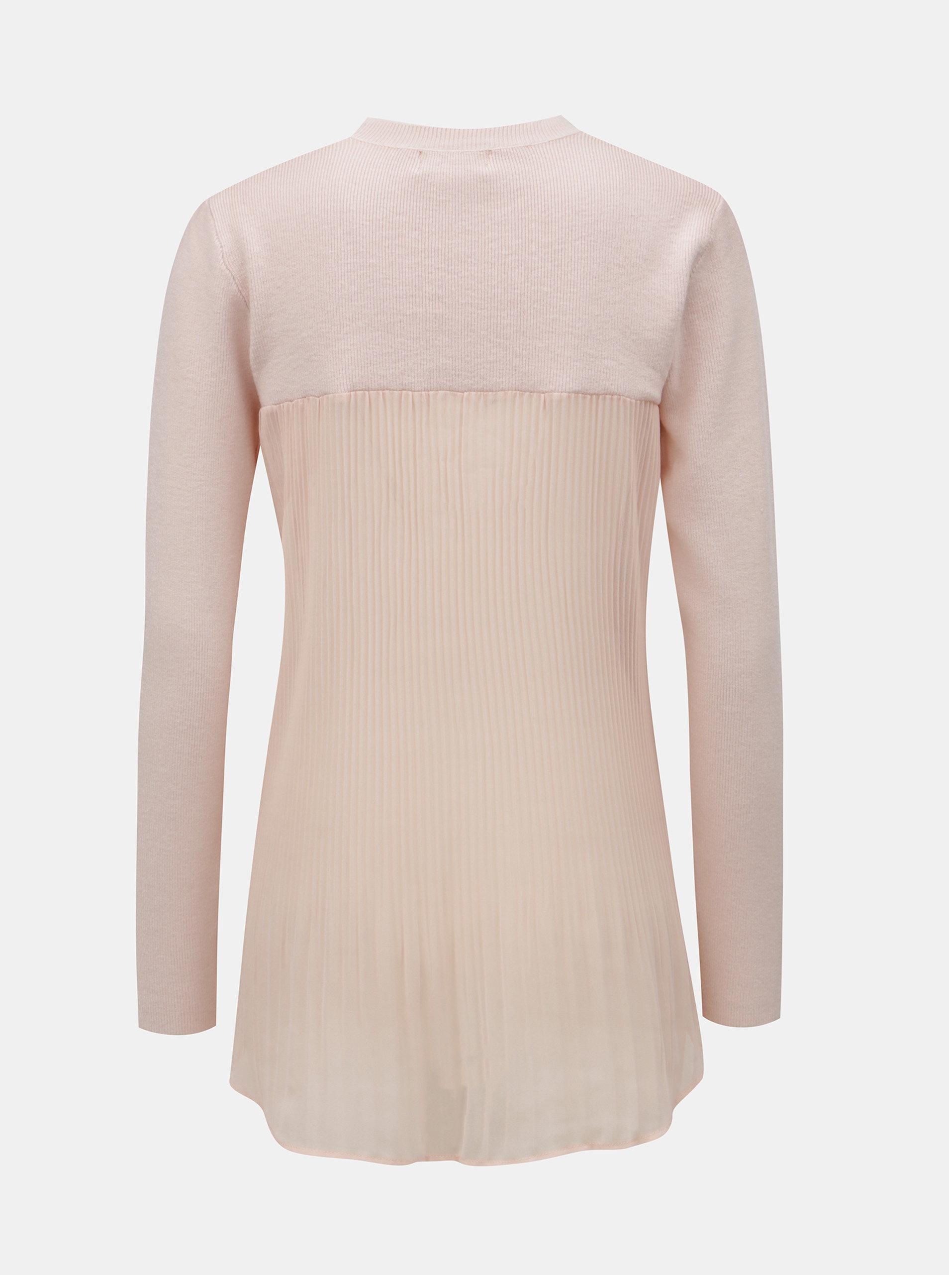 576f773d0dbe Ružový sveter s blúzkovou vsadkou Apricot ...