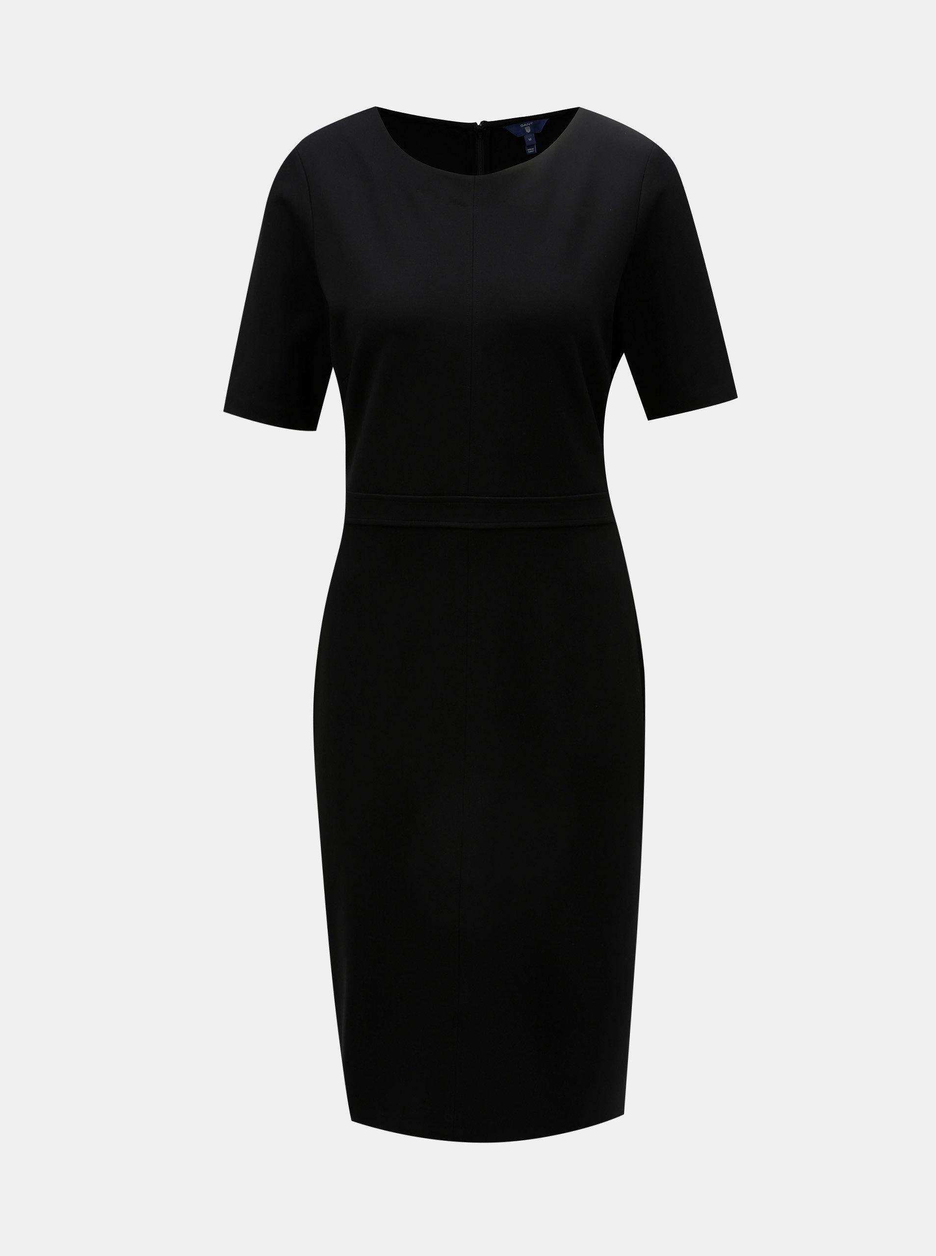 5e293aaaa951 Čierne puzdrové šaty s krátkym rukávom GANT ...