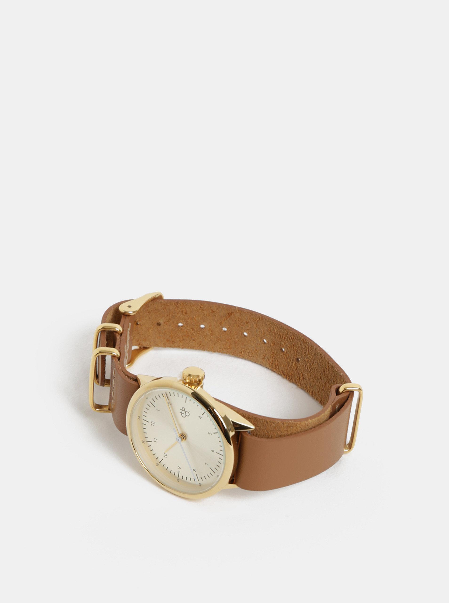 Dámské hodinky s hnědým koženým páskem CHPO Harold Mini Gold ... 3a216300f2