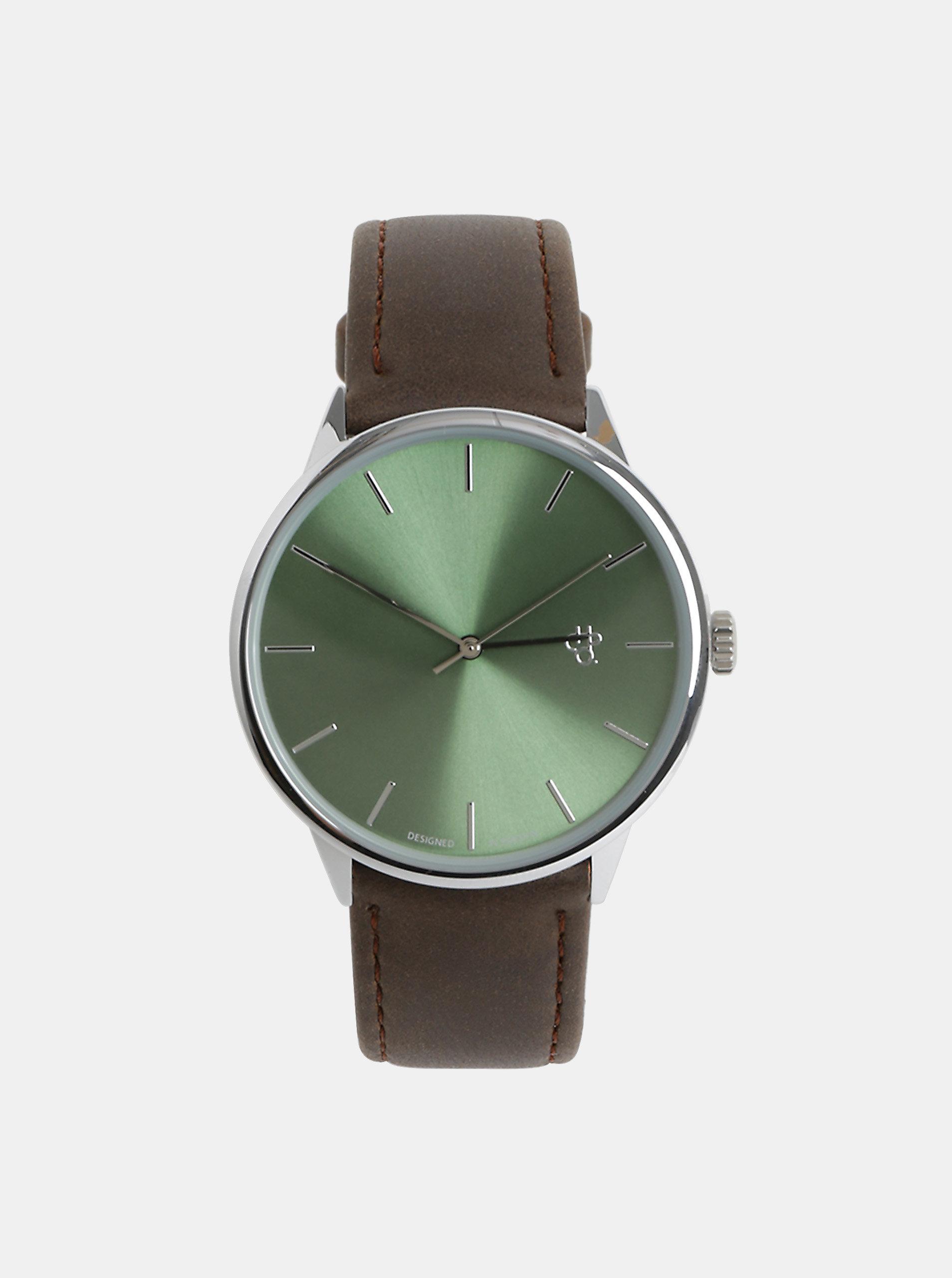 Unisex hodinky s hnědým páskem z veganské kůže CHPO Khorshid Olive Metal