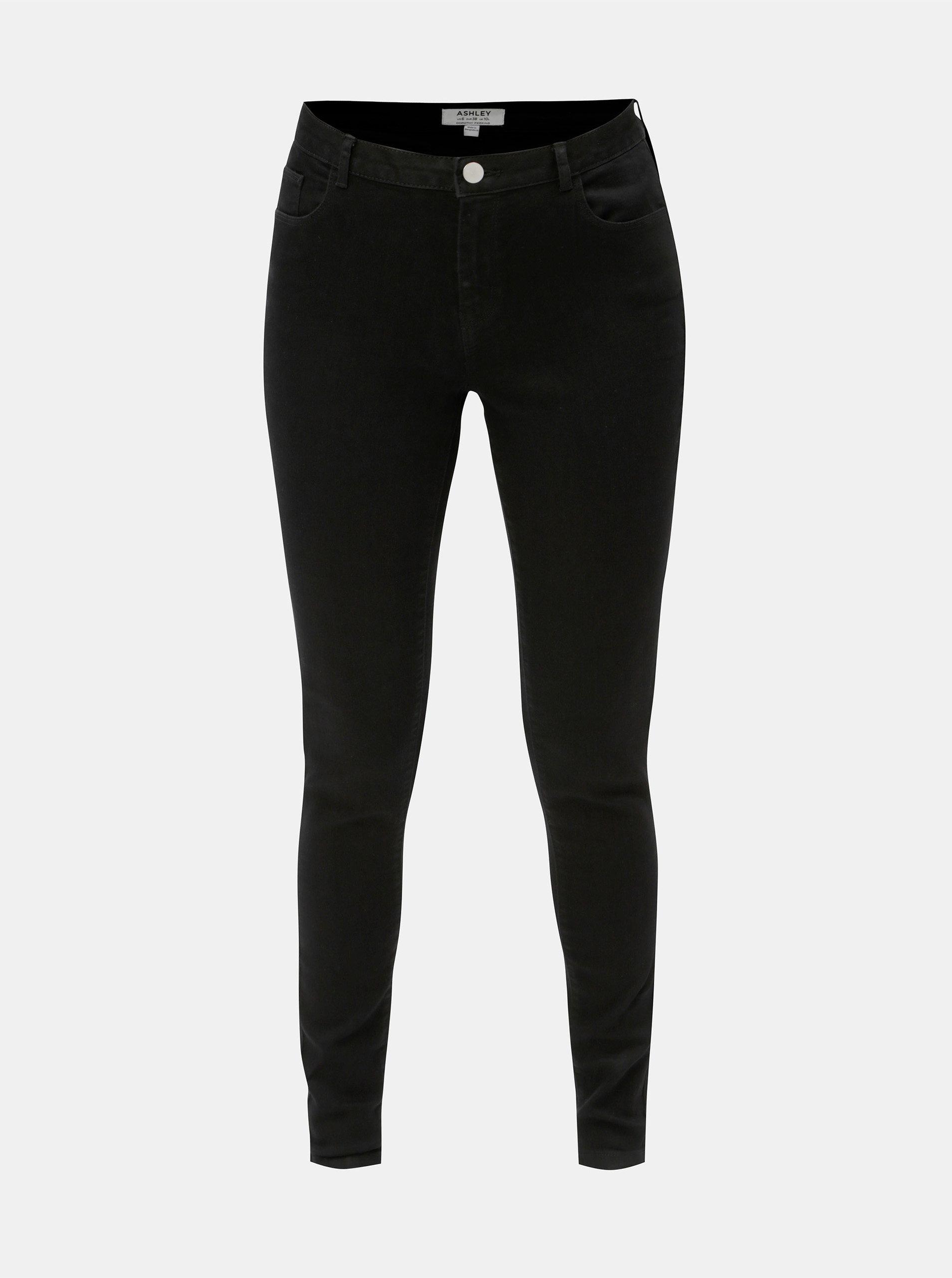 Černé dlouhé skinny džíny Dorothy Perkins Ashley