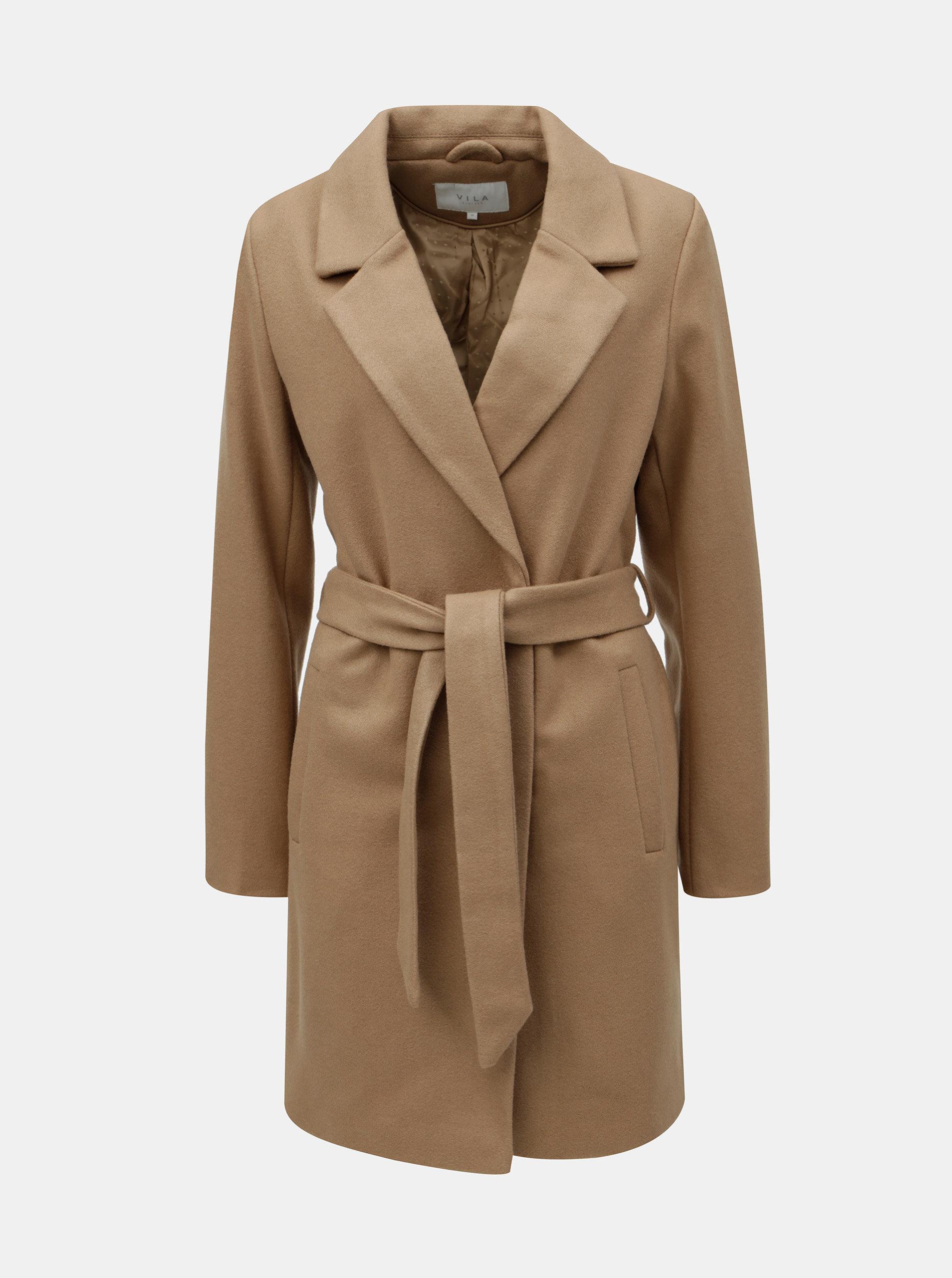 Hnědý kabát s příměsí vlny VILA