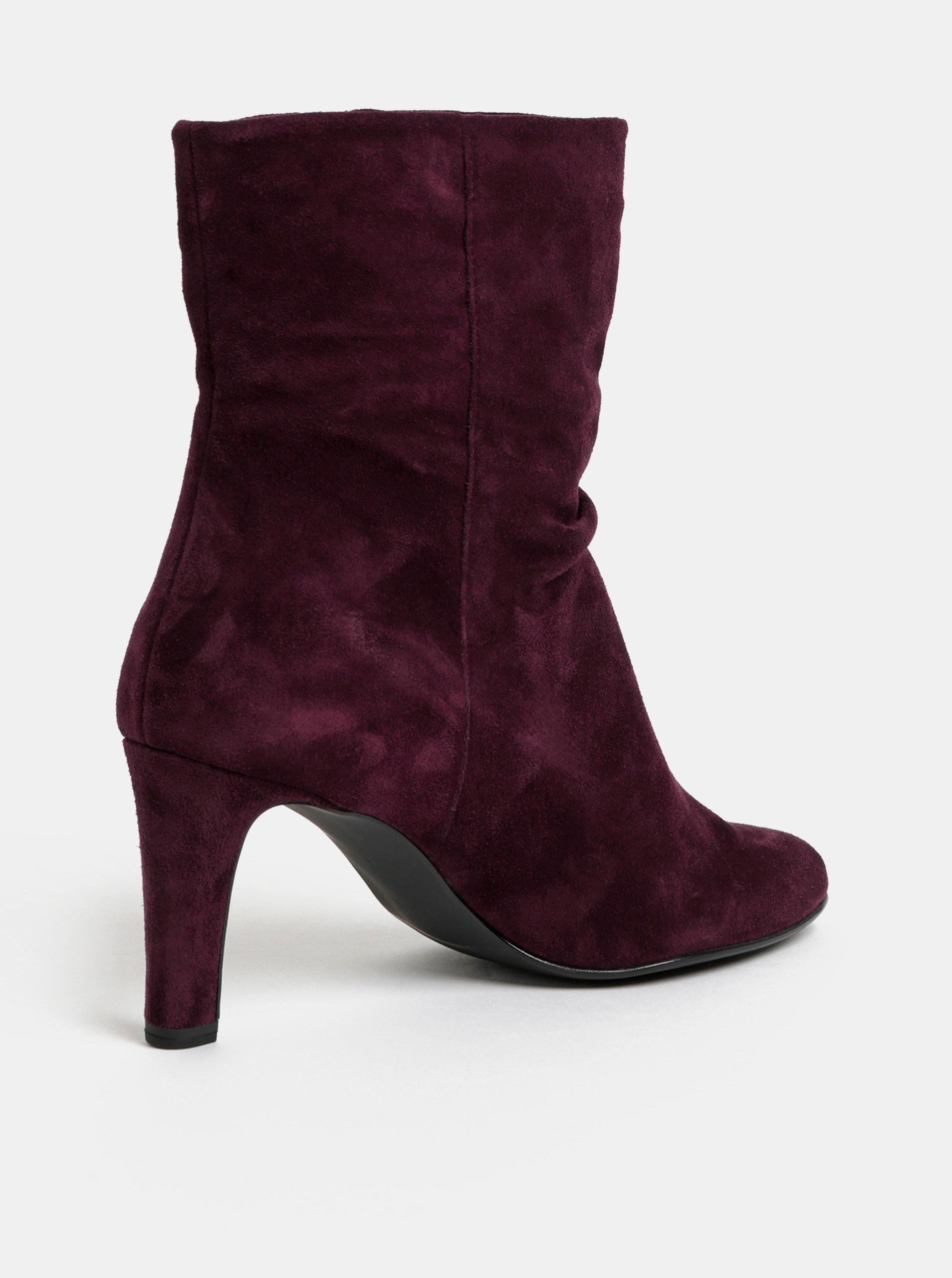 Tmavě fialové semišové kotníkové boty na podpatku Högl ... 7a75094d15