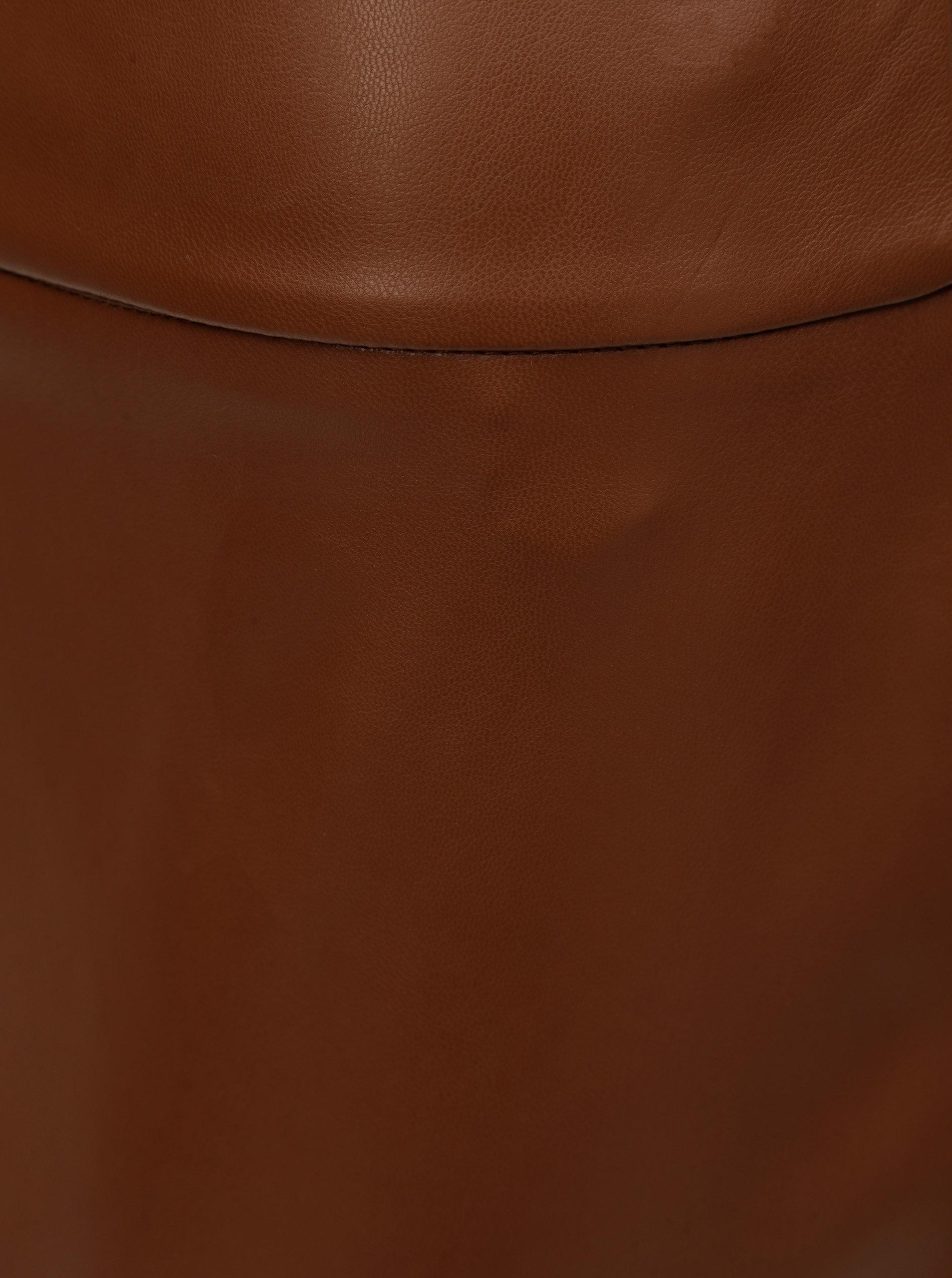 f850caa37861 Hnedá koženková puzdrová sukňa s rozparkom Dorothy Perkins ...