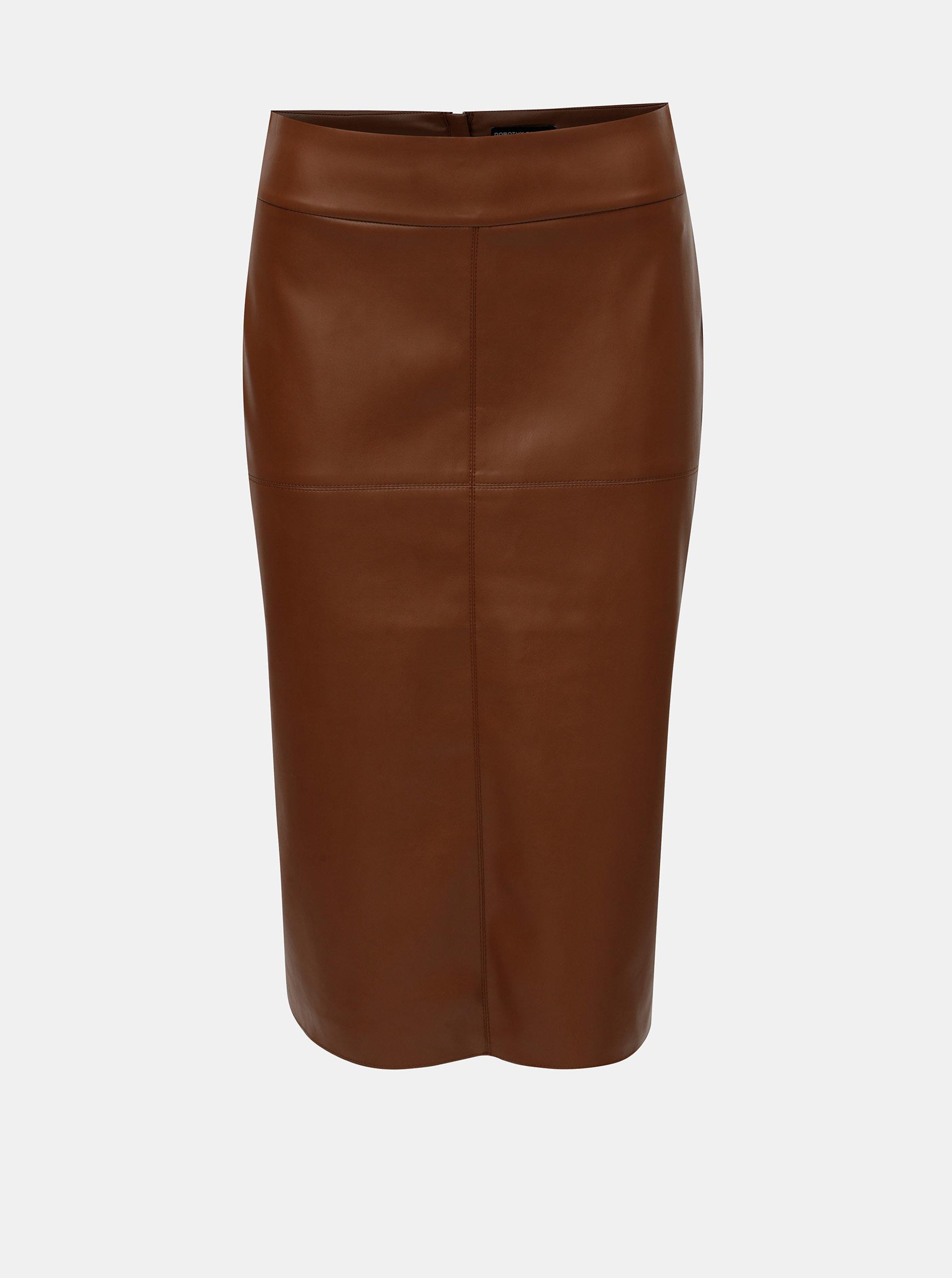 Hnědá koženková pouzdrová sukně s rozparkem Dorothy Perkins