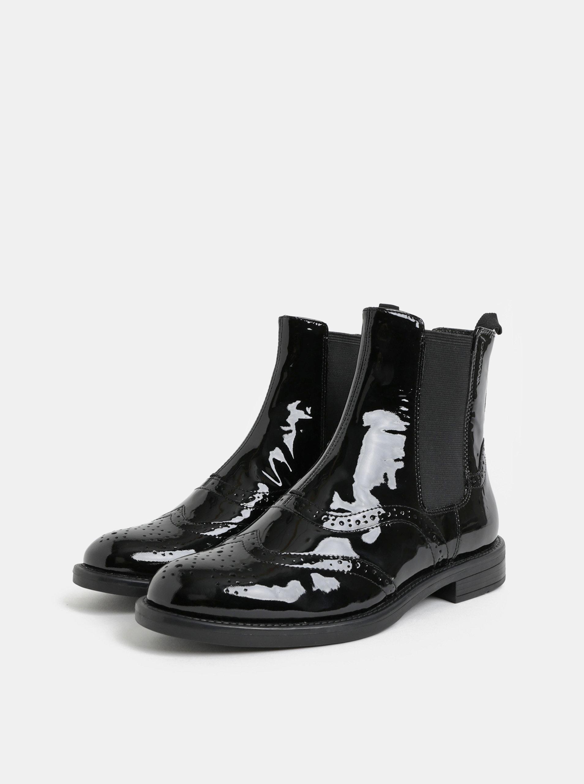 Čierne dámske kožené chelsea topánky s brogue zdobením Vagabond Amina ... 5fc83e225c3