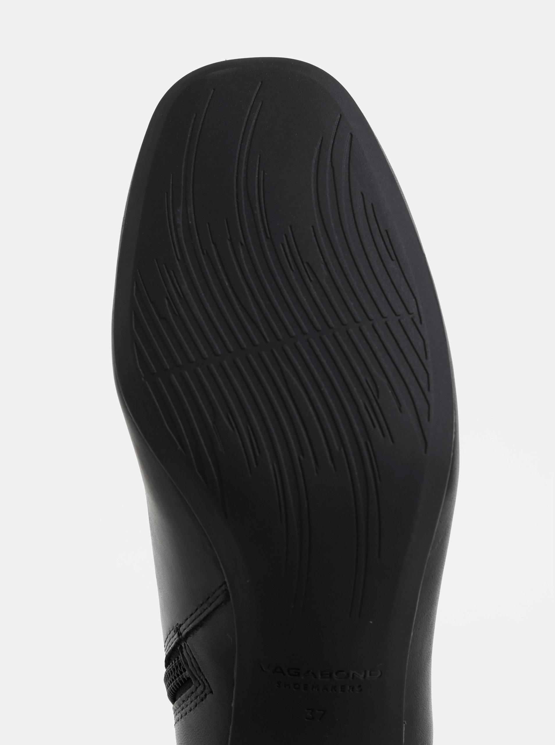 b107e41c6c17b Čierne dámske kožené nízke čižmy s metalickým podpätkom Vagabond Jeena ...