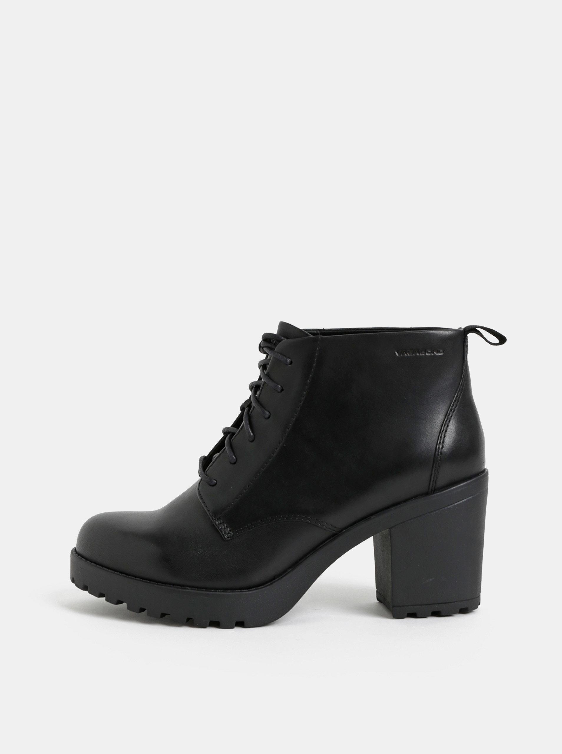 e3fad3121f5 Černé dámské kožené kotníkové boty na podpatku Vagabond Grace ...