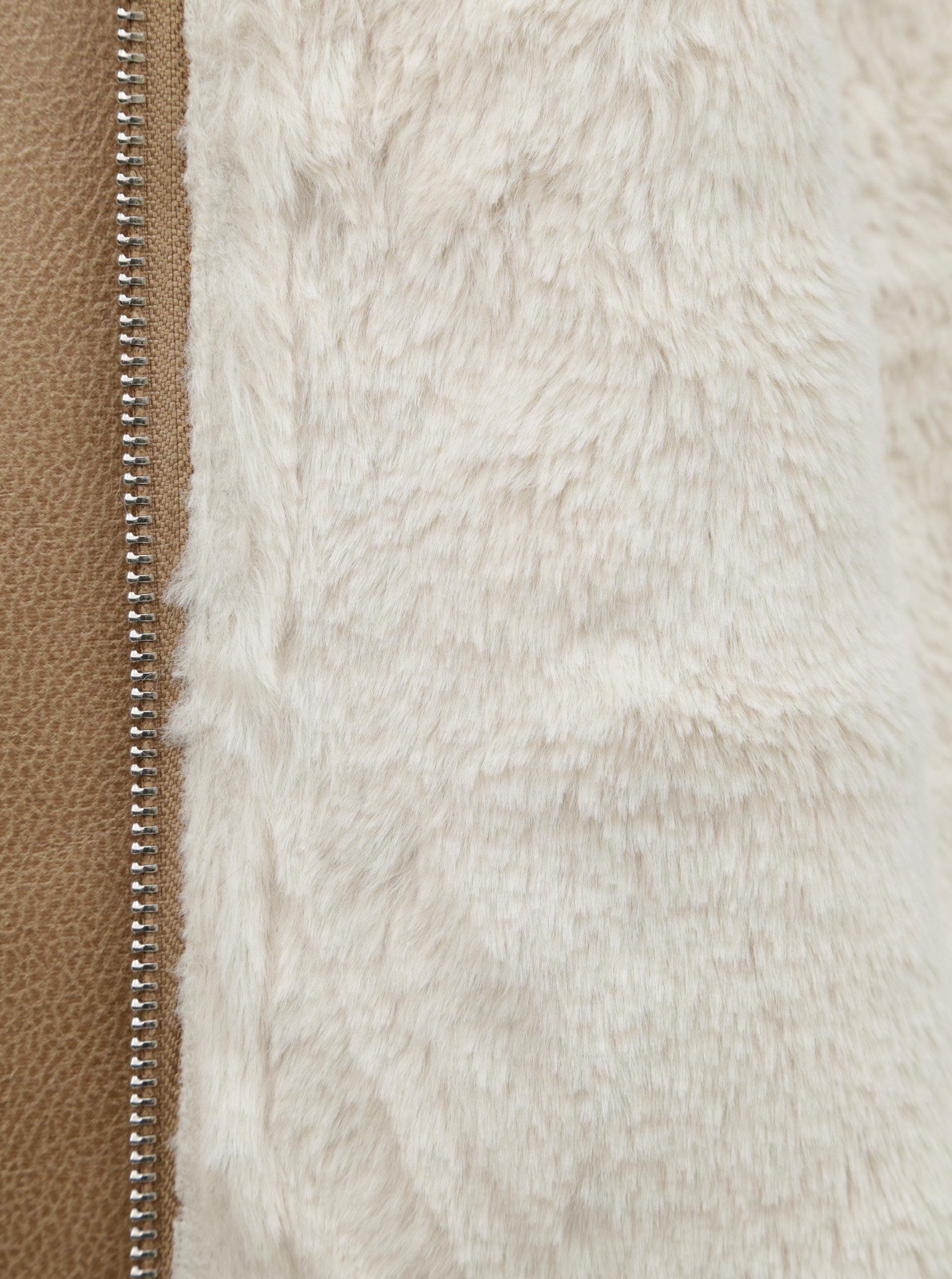Béžová koženková bunda s umelou kožušinkou Dorothy Perkins ... 6df629b35b4