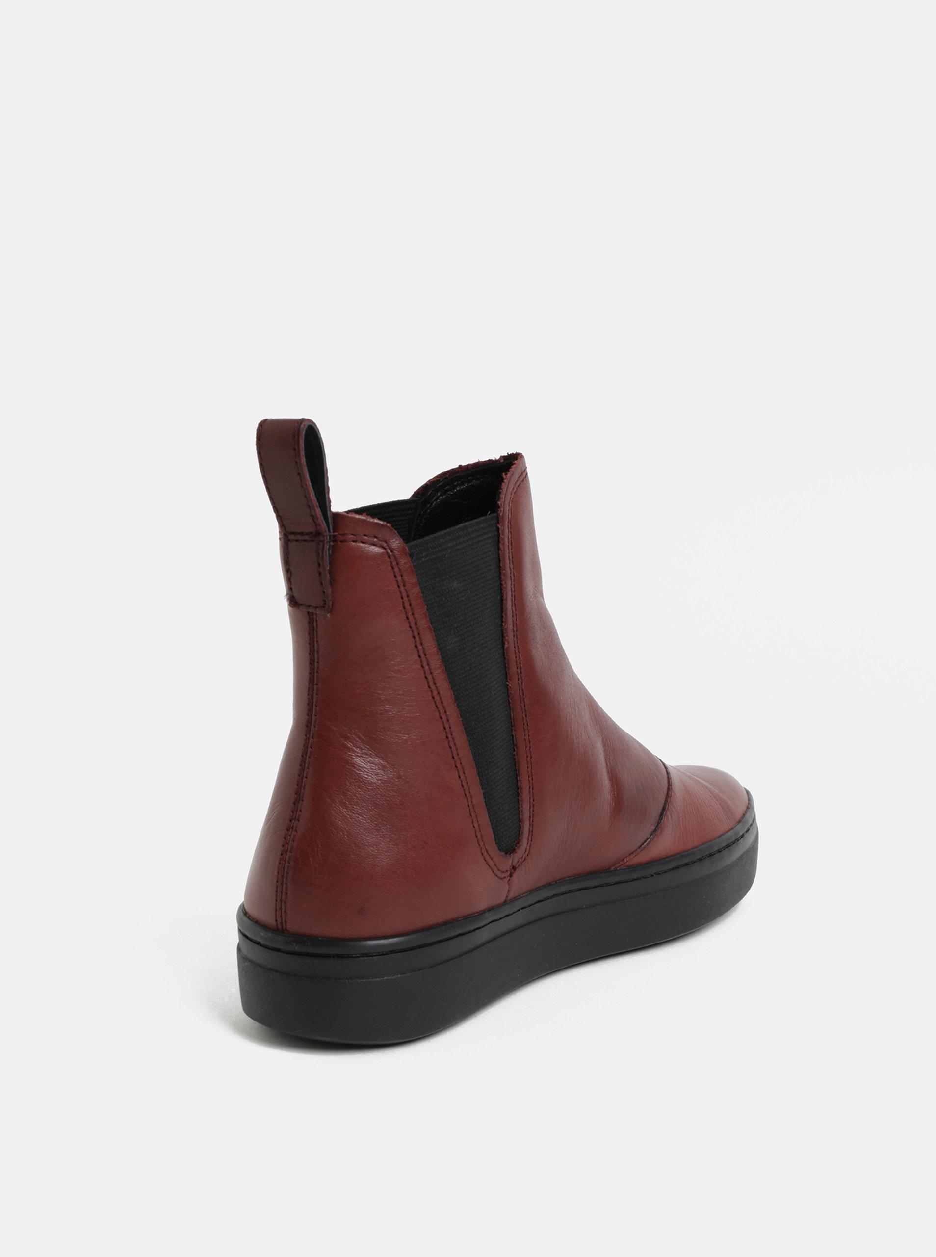 Vínové dámské kožené chelsea boty Vagabond Camille ... 7db19f70b5