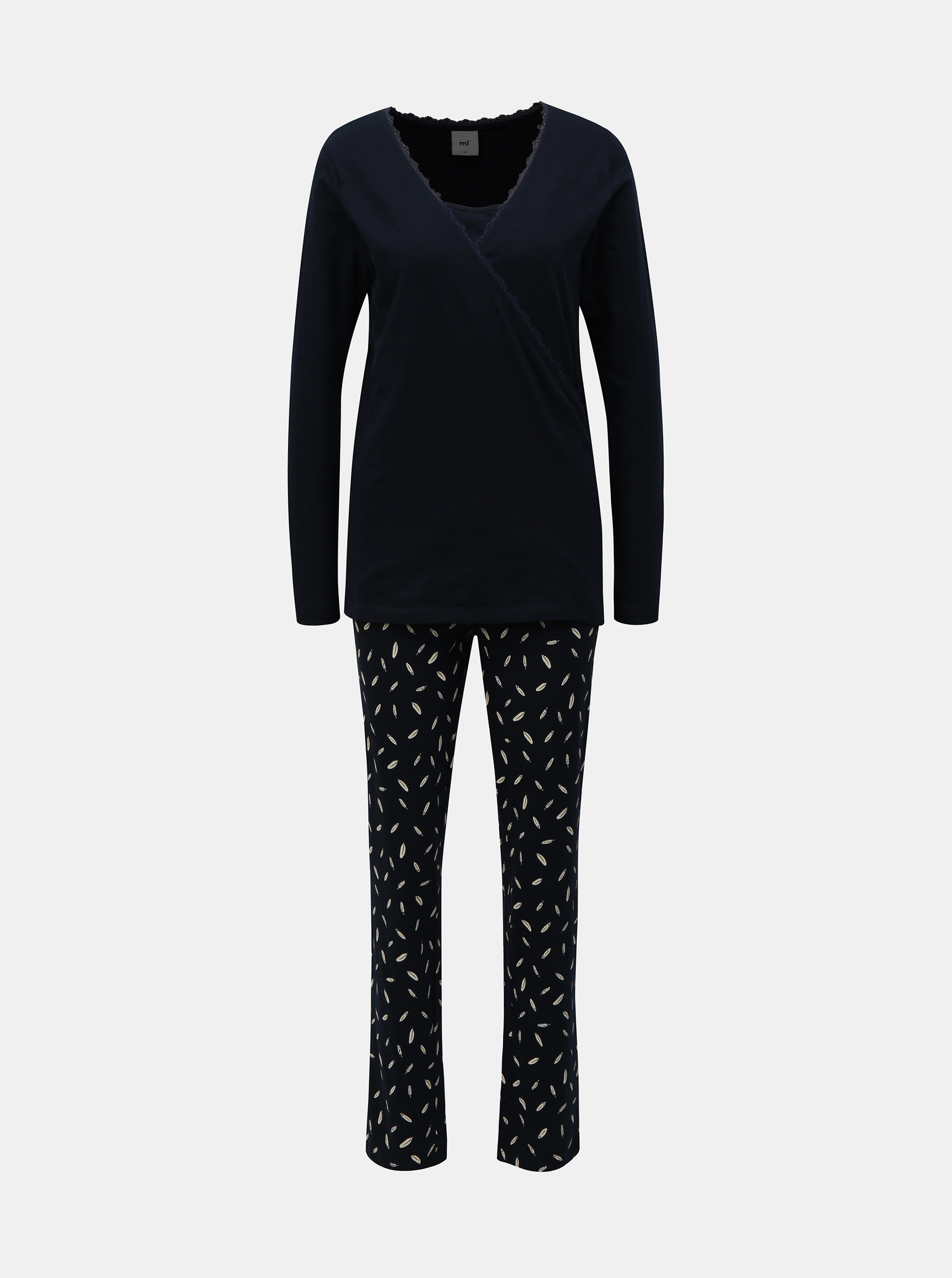 Tmavě modré těhotenské/kojicí dvoudílné pyžamo Mama.licious
