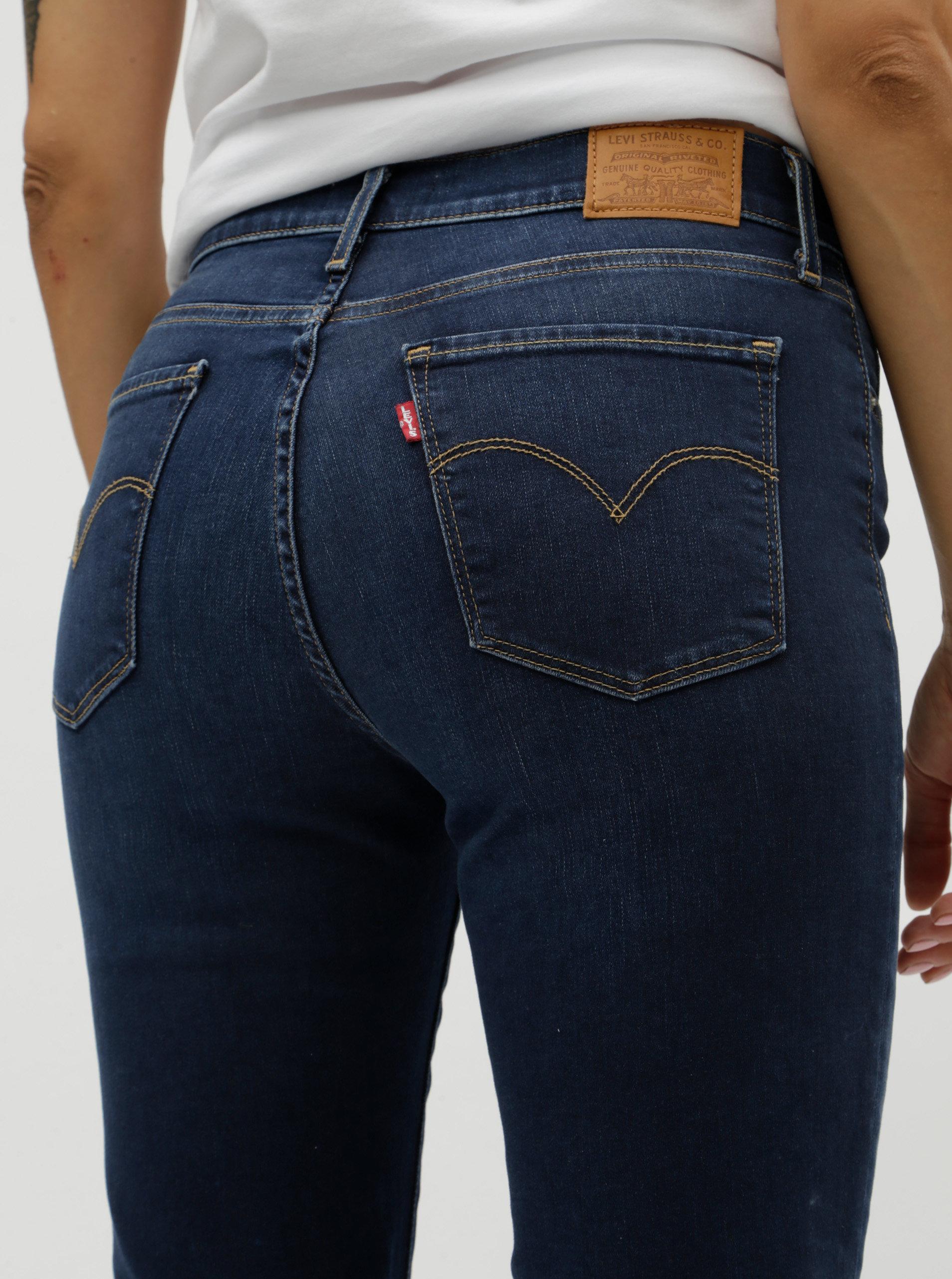 2e62f14382e Tmavě modré dámské straight džíny s vyšisovaným efektem Levi s® ...