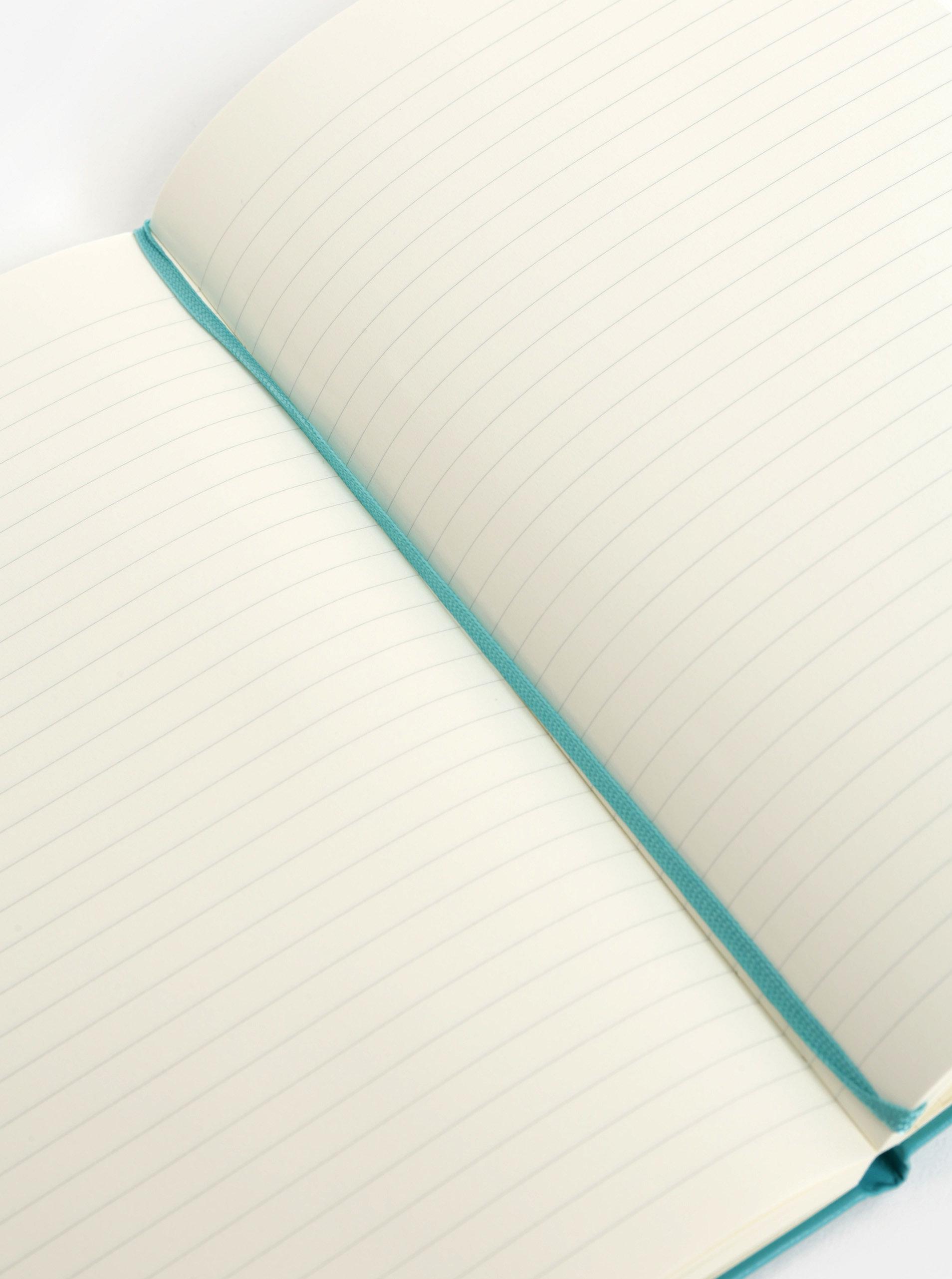Tyrkysový linkovaný zápisník s pevnou vazbou Moleskine A5