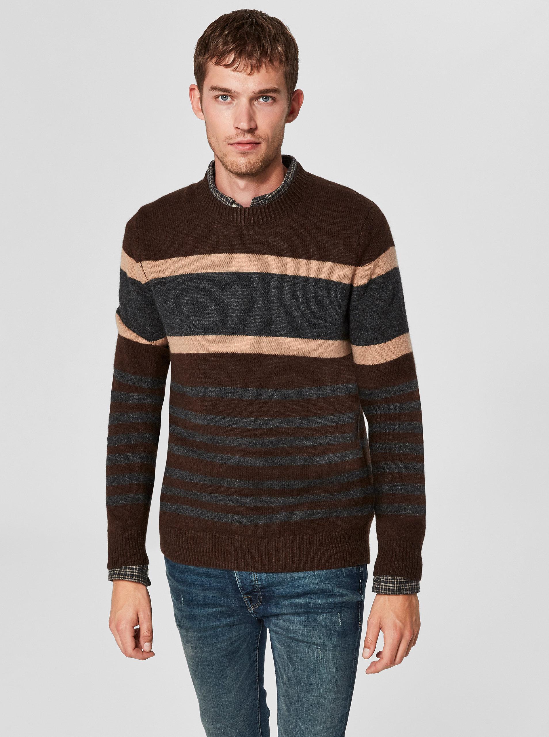 Šedo-hnědý vlněný svetr Selected Homme