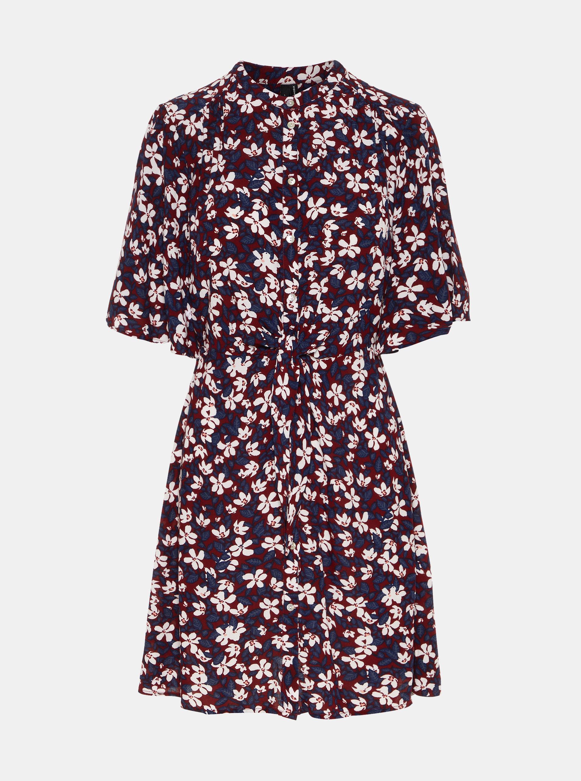 ba3b3864eb24 Vínové áčkové květované šaty VERO MODA Billia ...