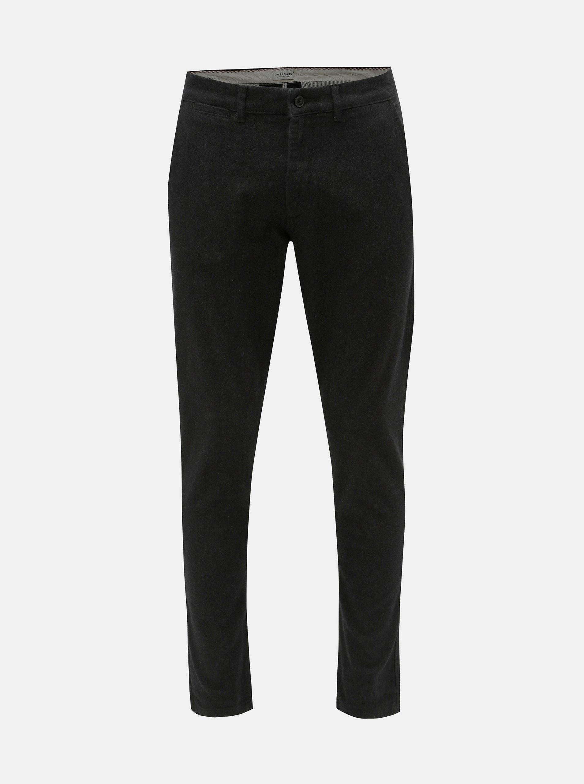 Tmavě šedé slim fit chino kalhoty Jack & Jones