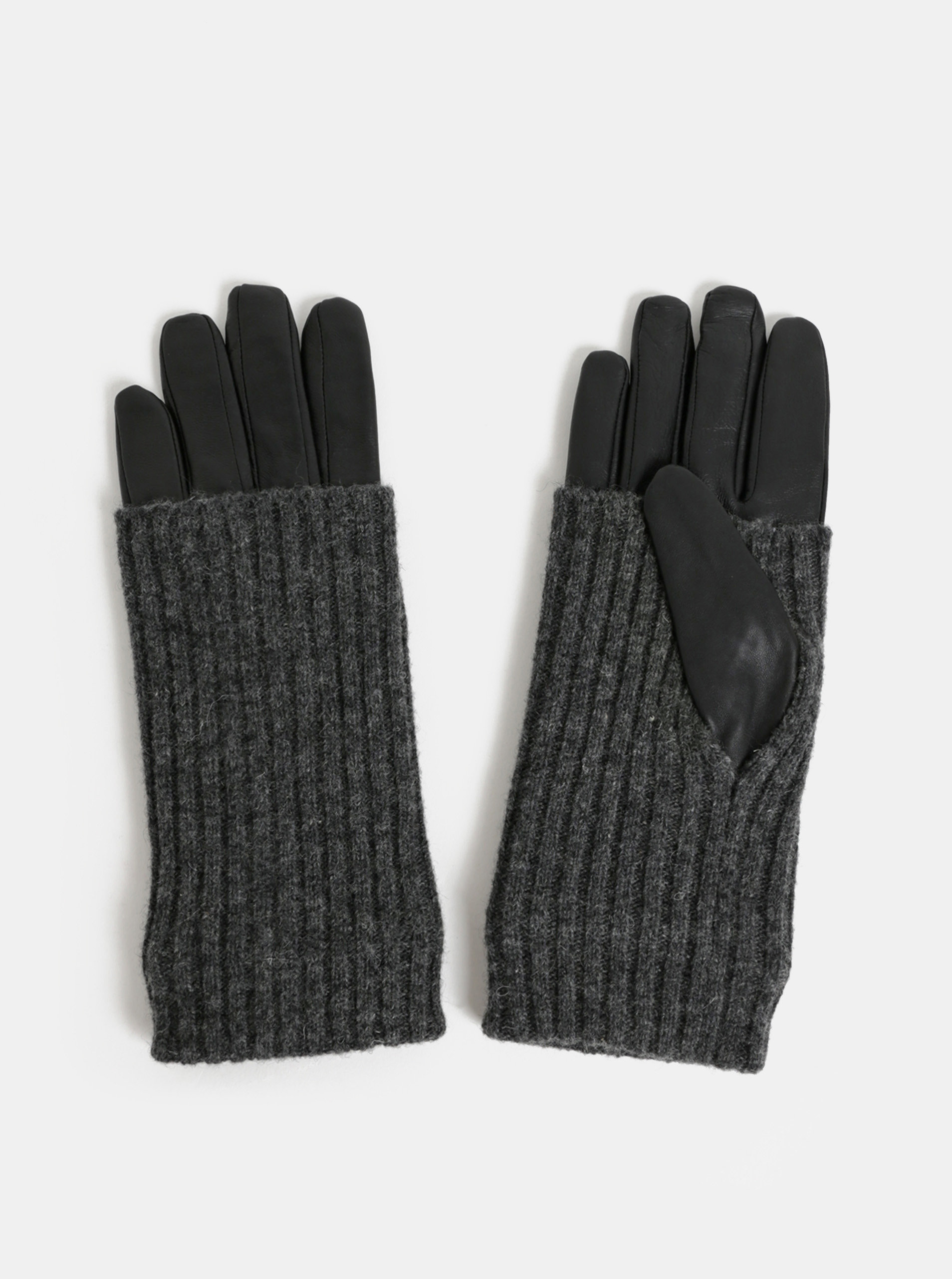 Černé kožené rukavice s ohrnovacím vlněným úpletem VERO MODA Mie