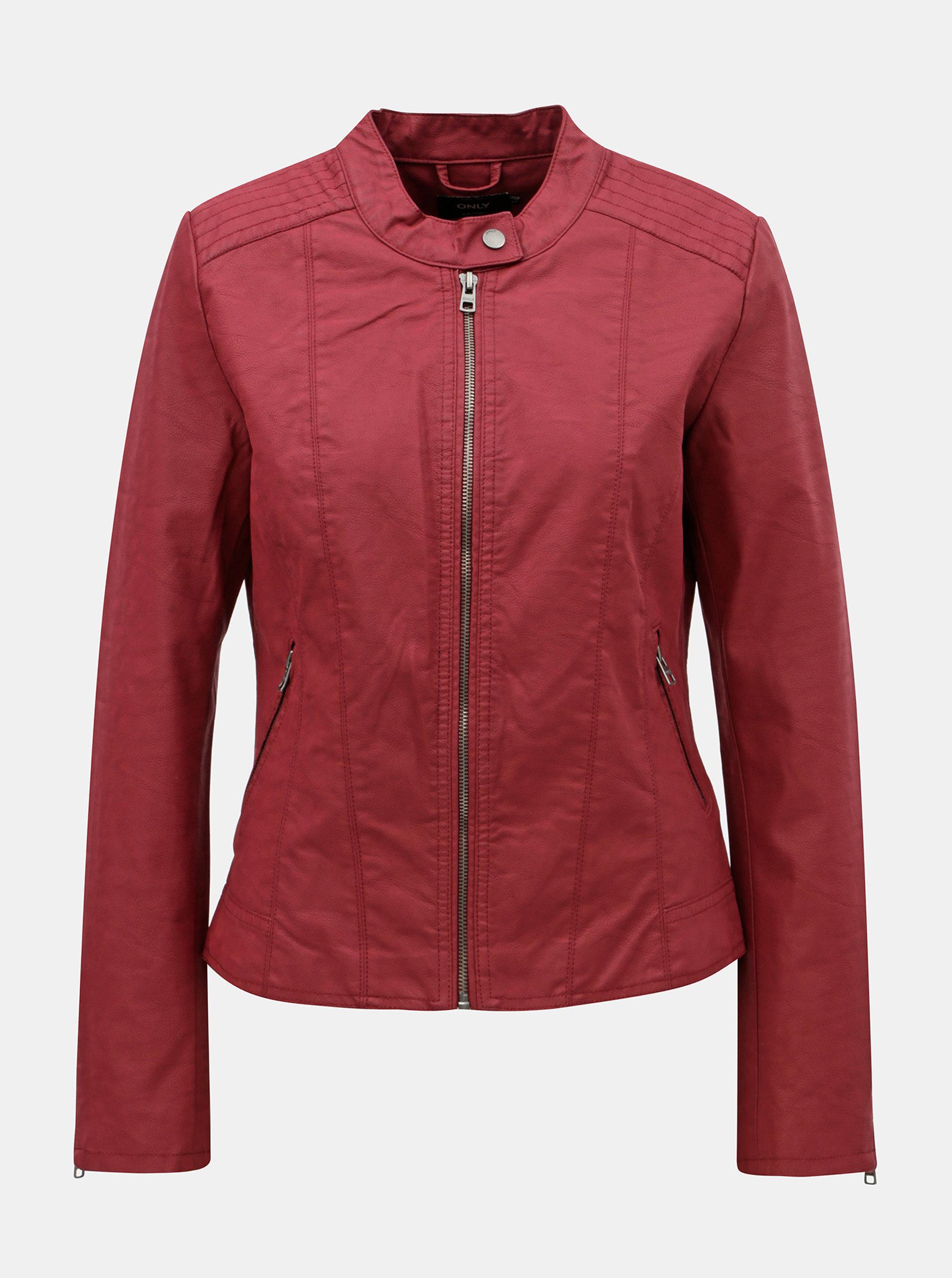 1ca2e06646b Červená koženková bunda s detailmi v striebornej farbe ONLY Saga ...