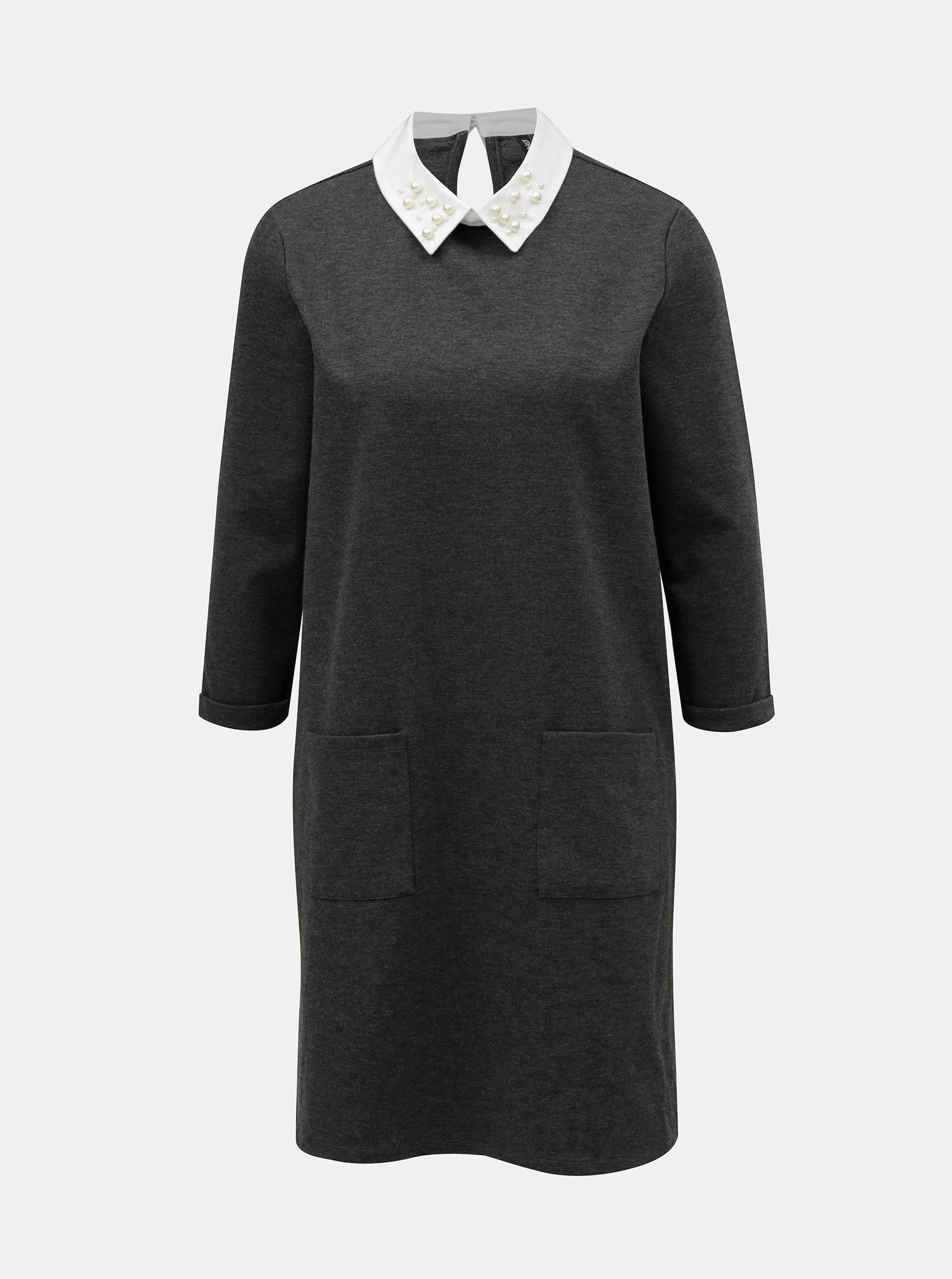 Šedé žíhané šaty s límečkem ONLY Mally