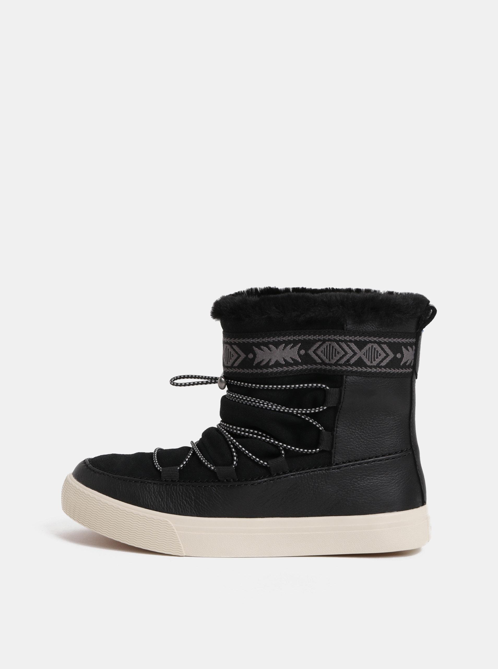 a1d754bd0ce Černé dámské kožené zimní kotníkové boty TOMS Alpine ...