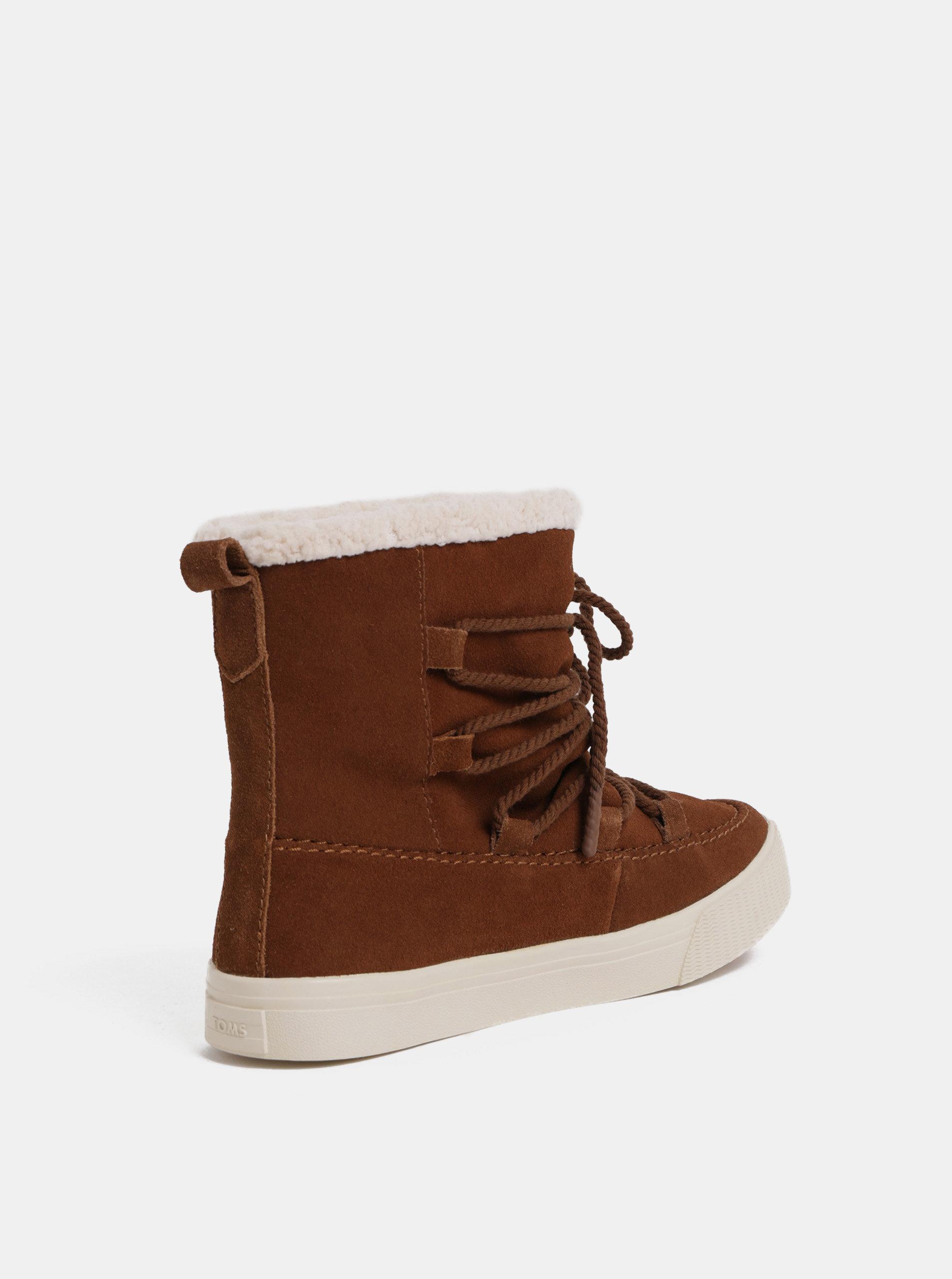 0899f56ee1 Hnedé dámske semišové zimné členkové topánky s výšivkou TOMS Alpin ...